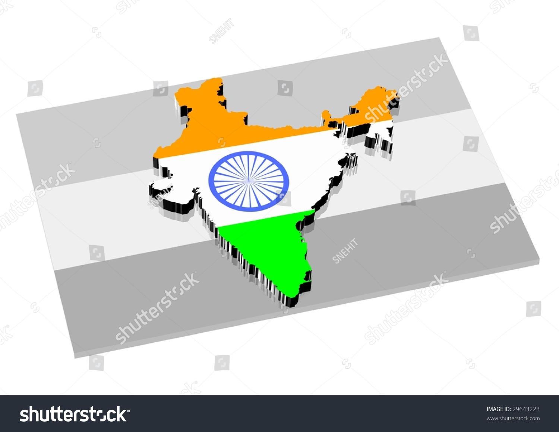 India Flag Black: 3d India Map Over 3d Black Stock Illustration 29643223