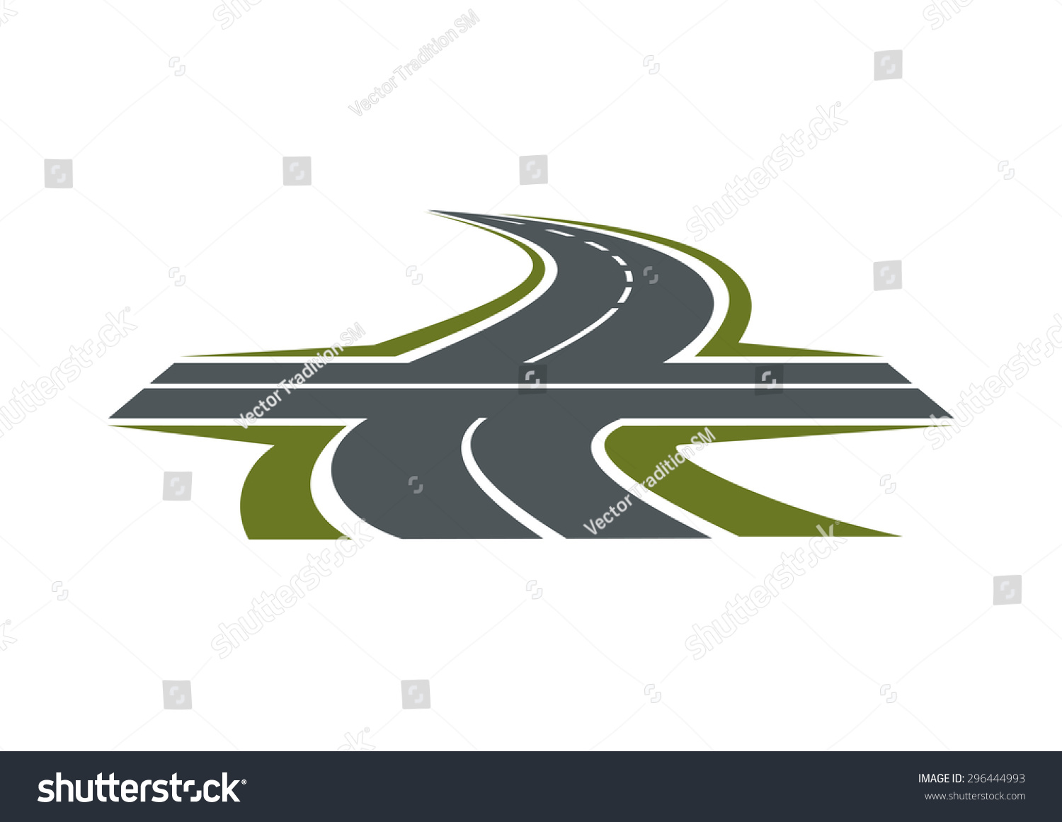 Crossroad Abstract Symbol Intersection Speed Highway Stock Vector