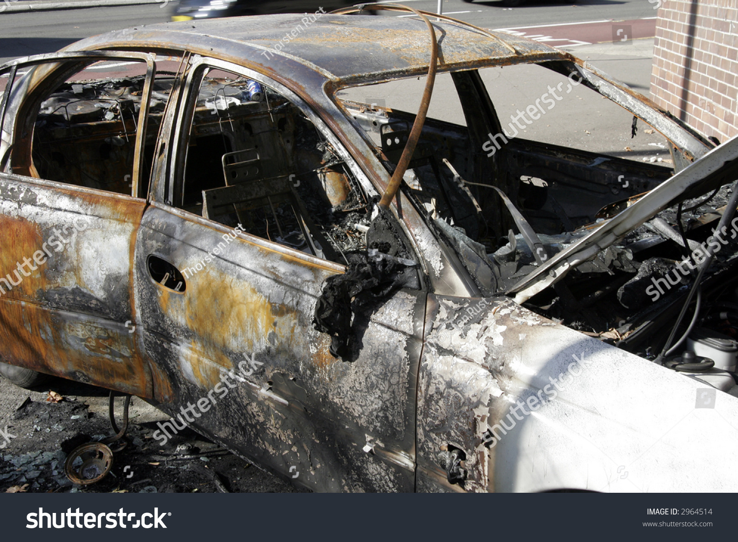 wrecked abandoned burnt out car with melted interior fire damage stock photo 2964514. Black Bedroom Furniture Sets. Home Design Ideas