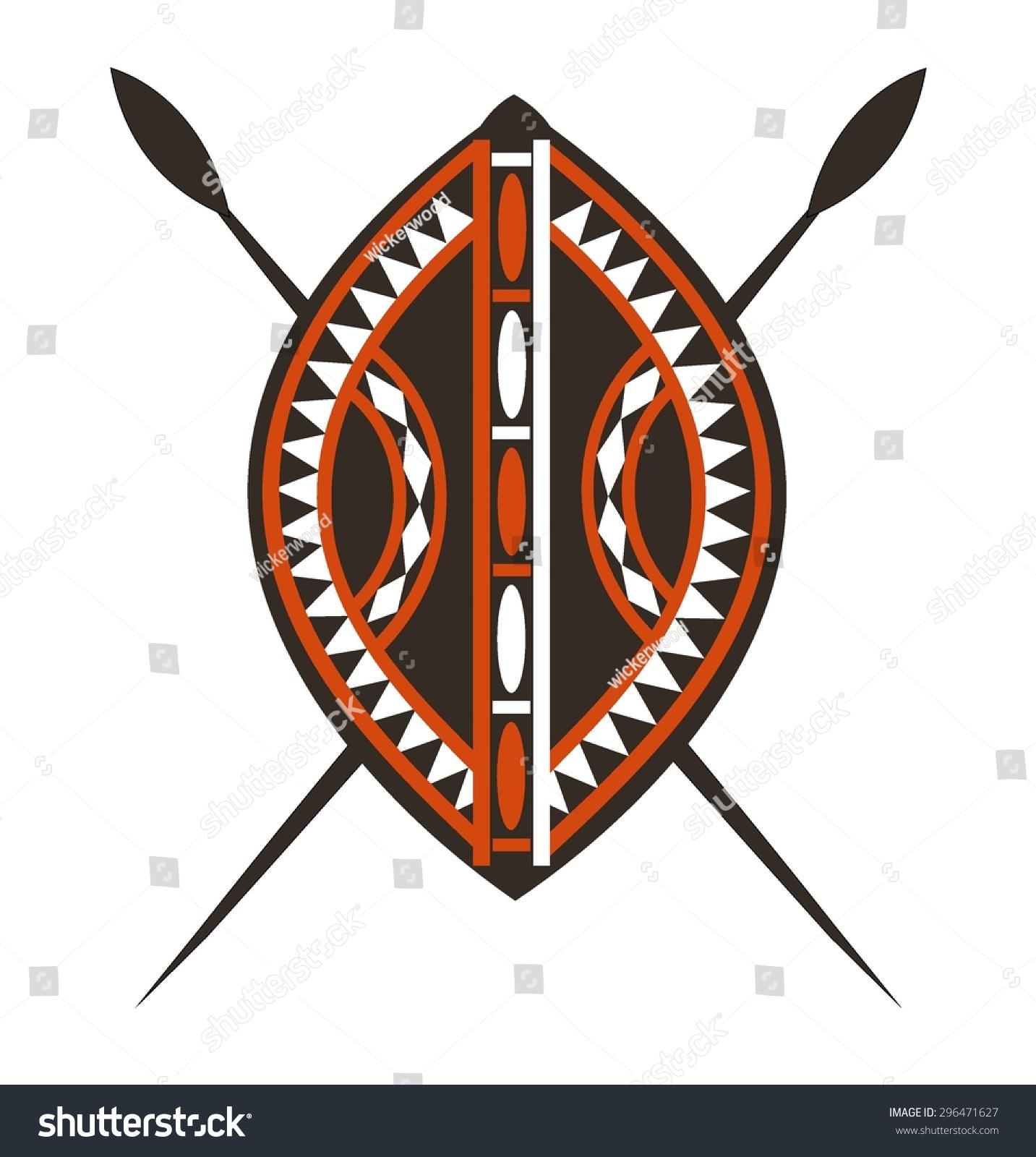 Masai Shield Spears Stock Vector 296471627