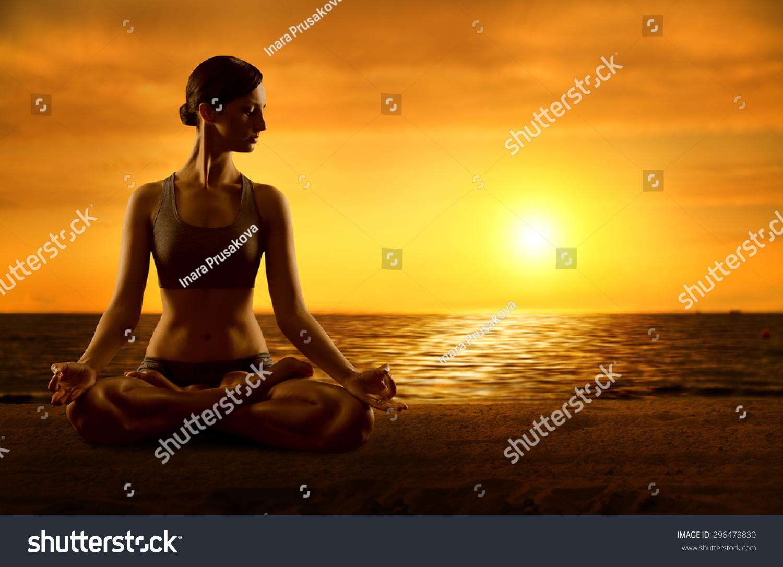 Yoga Meditating Lotus Position Exercising Woman Stock