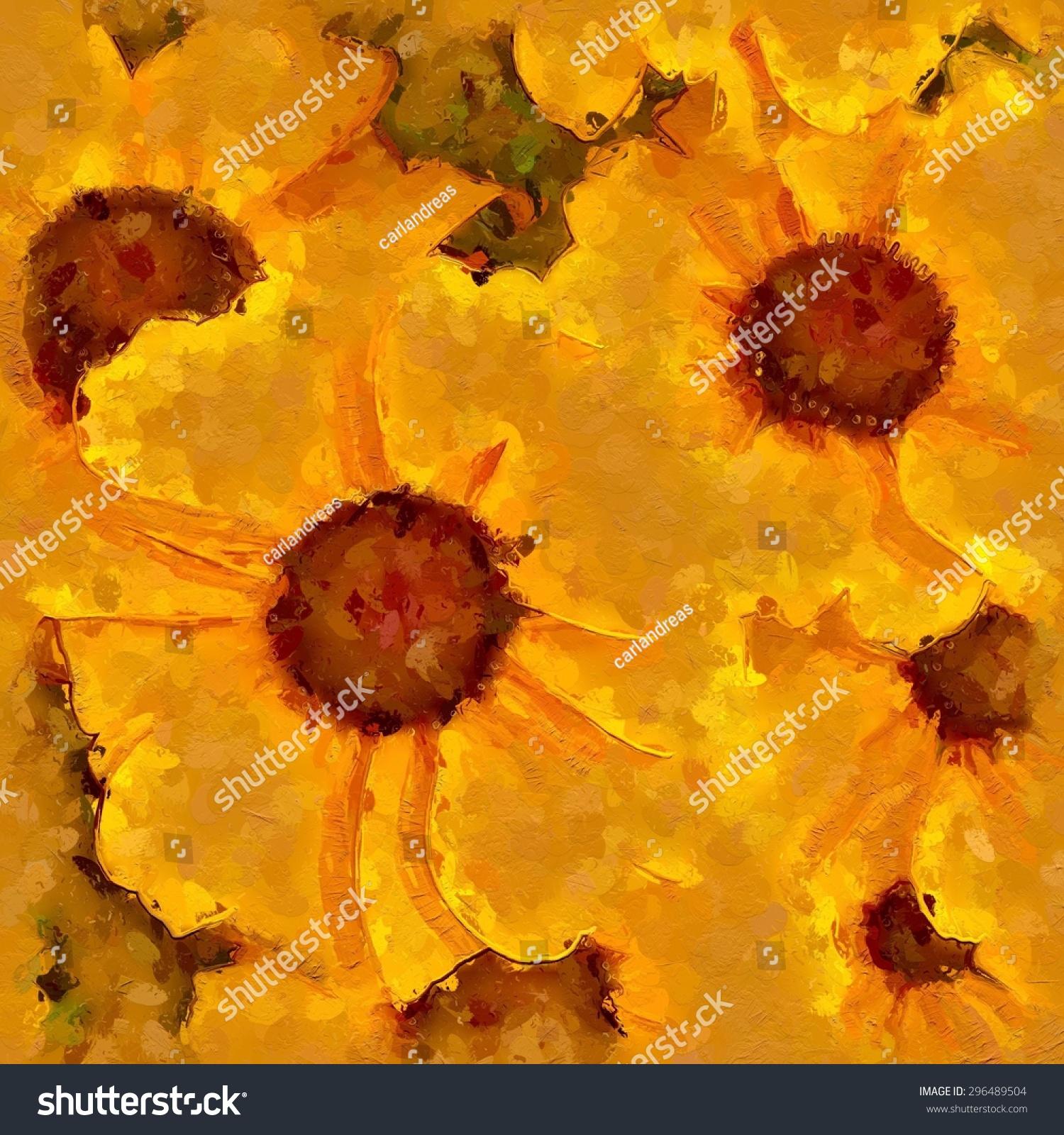 Impressionist Art Painting Illustration Yellow Orange Rudbeckia