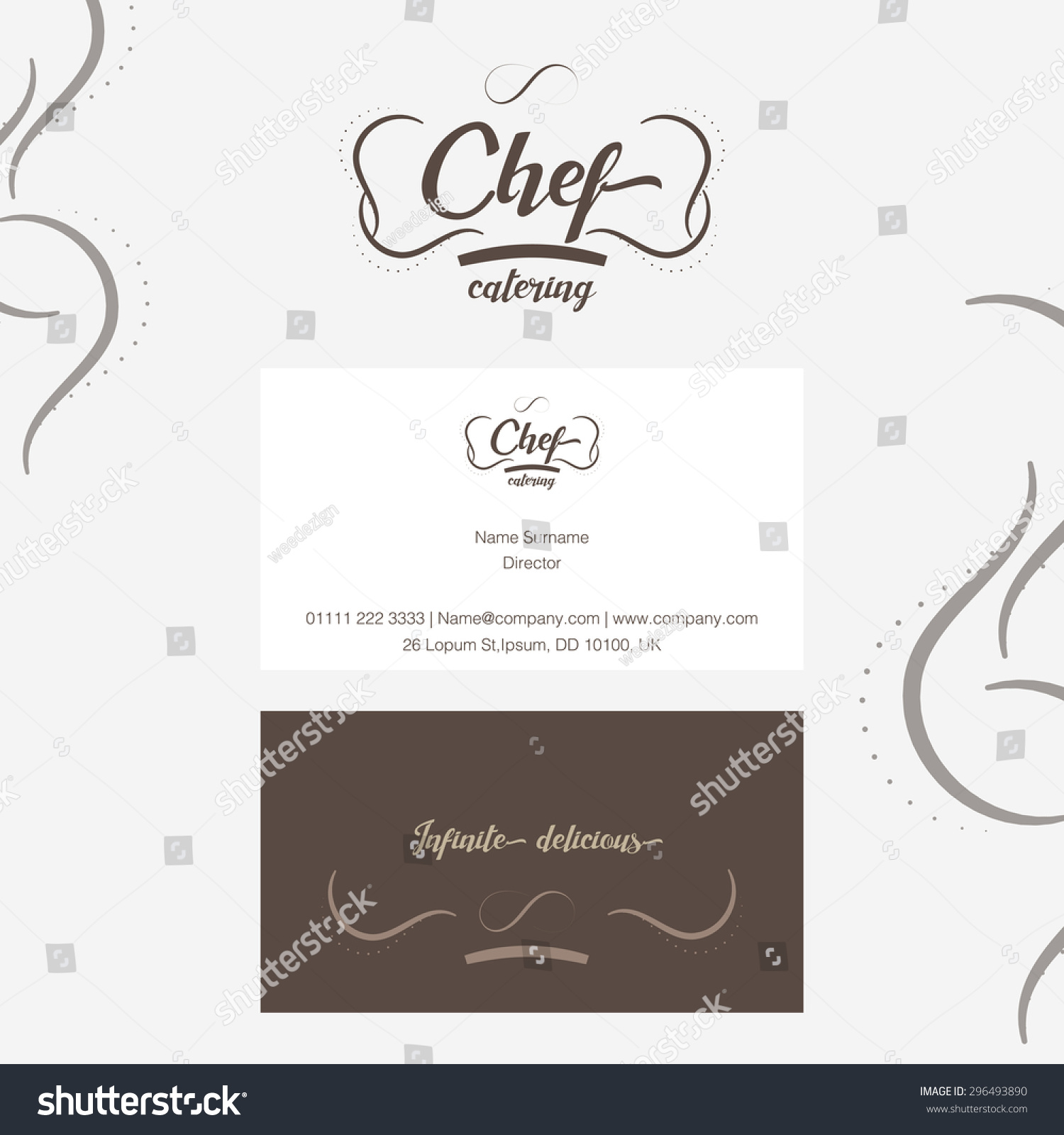 Vector Chef Catering Logo Business Card Stock Vector 296493890 ...