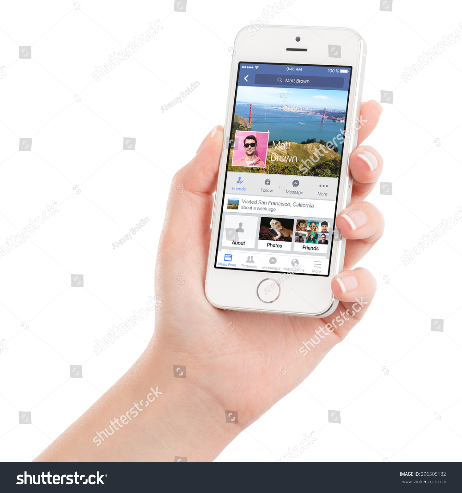 Female Hand Holding Apple Silver Iphone Stock Photo ...