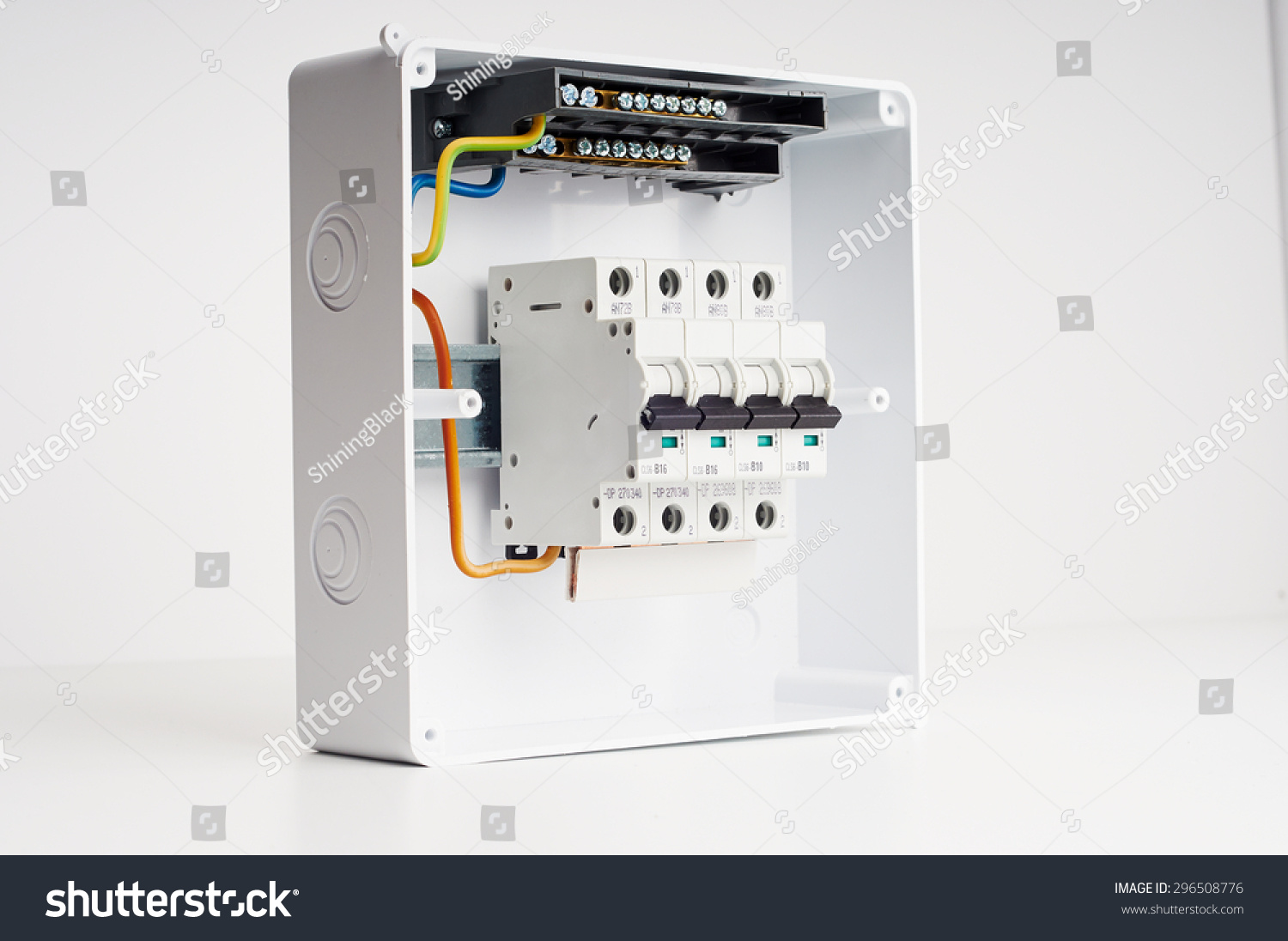 Electrical Cabinet Four Automatic Fuses Wires Stock Photo (Royalty ...