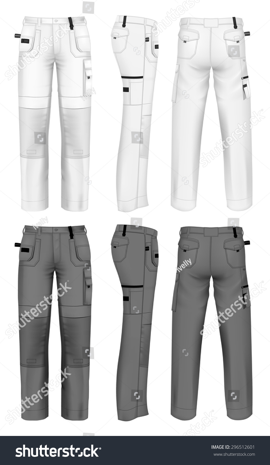 mens working trousers design template front back and side views vector illustration