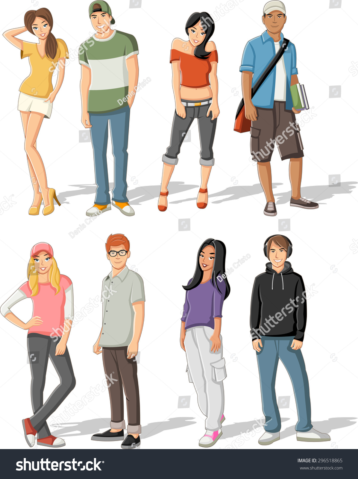 Group Of Fashion Cartoon Young People Teenagers Stock Vector Illustration 296518865 Shutterstock