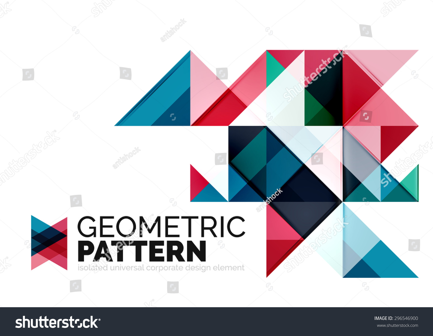 Geometric Triangle Mosaic Pattern Element Isolated On