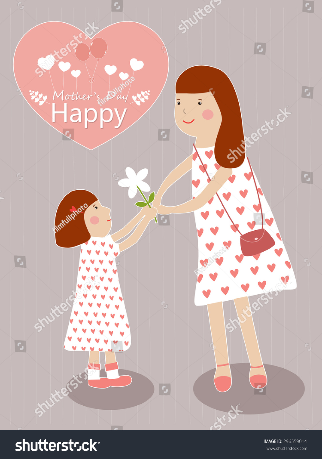 Mother Daughter Symbol Love On Sweet Stock Vector Royalty Free