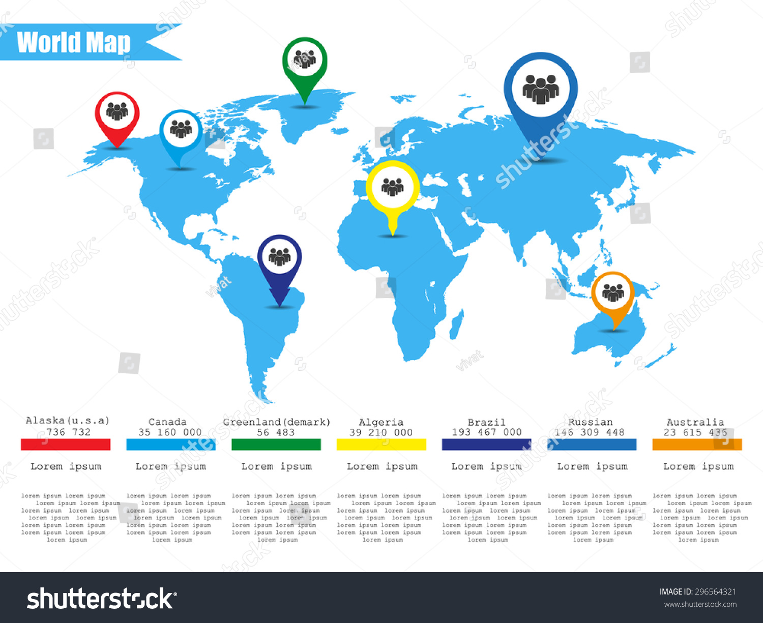 Colorful modern infographic world map vector vectores en stock colorful modern infographic world map vector illustrator gumiabroncs Images