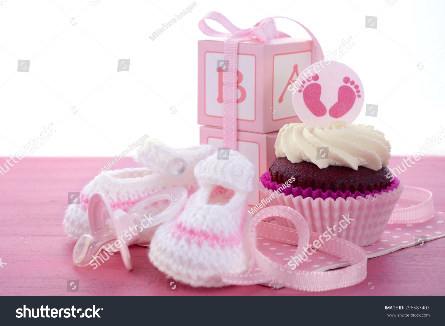 Its A Girl Baby Shower Cupcakes With Baby Feet Toppers And Decorations On  Shabby Chic Pink