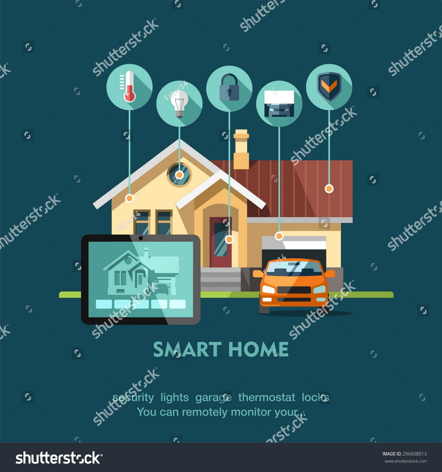 smart home flat design style vector illustration concept of smart house technology system with centralized - How To Design A Smart Home