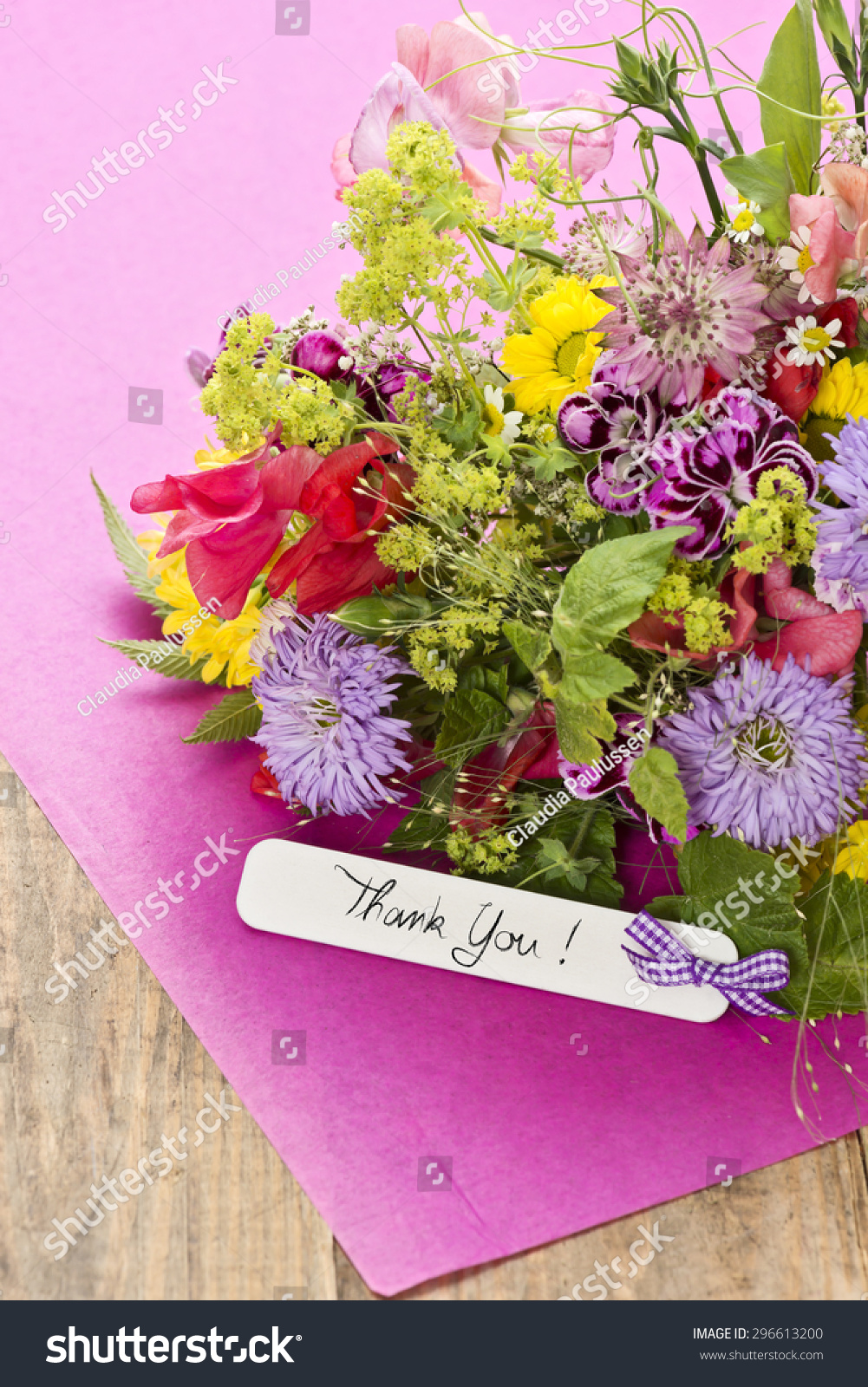 Close Bouquet Flowers Label Saying Thank Stock Photo (Royalty Free ...