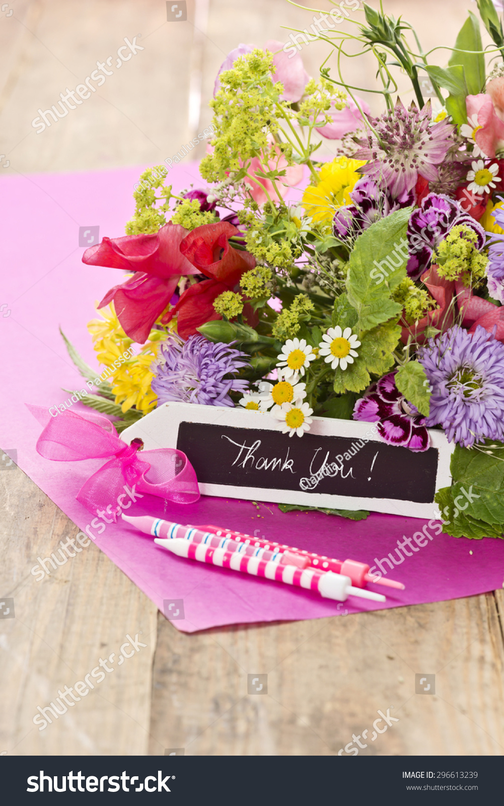 Close Bouquet Flowers Black Label Saying Stock Photo Edit Now