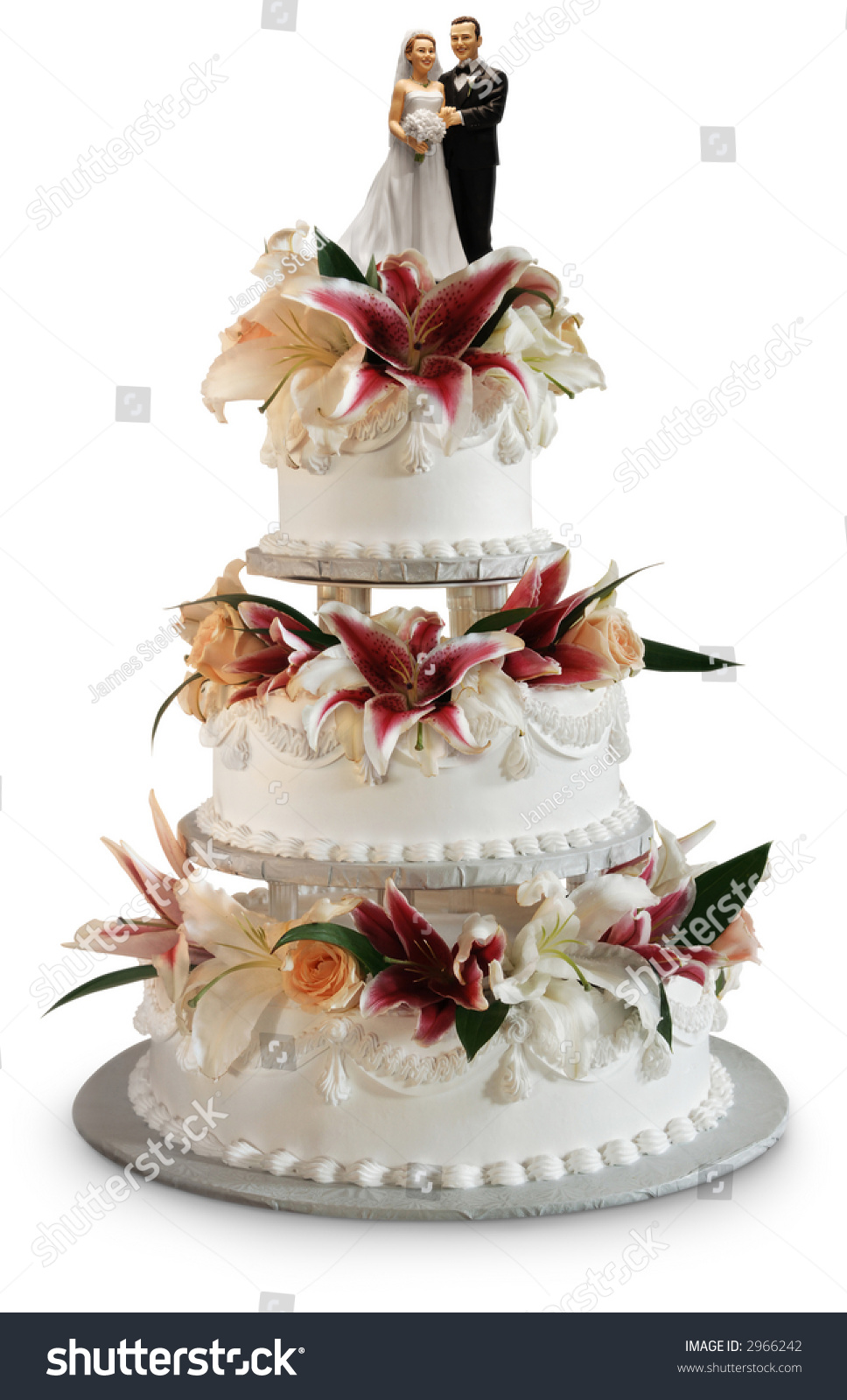 top tier of wedding cake traditions traditional three layer wedding cake decorated stock photo 21071