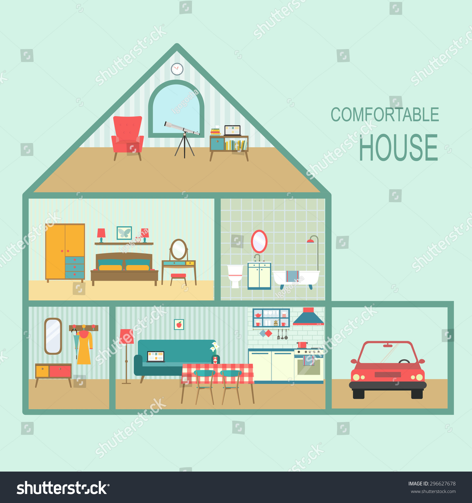 Flat comfortable house section interior living stock vector 296627678 shutterstock - Small houses with attic and garage ...