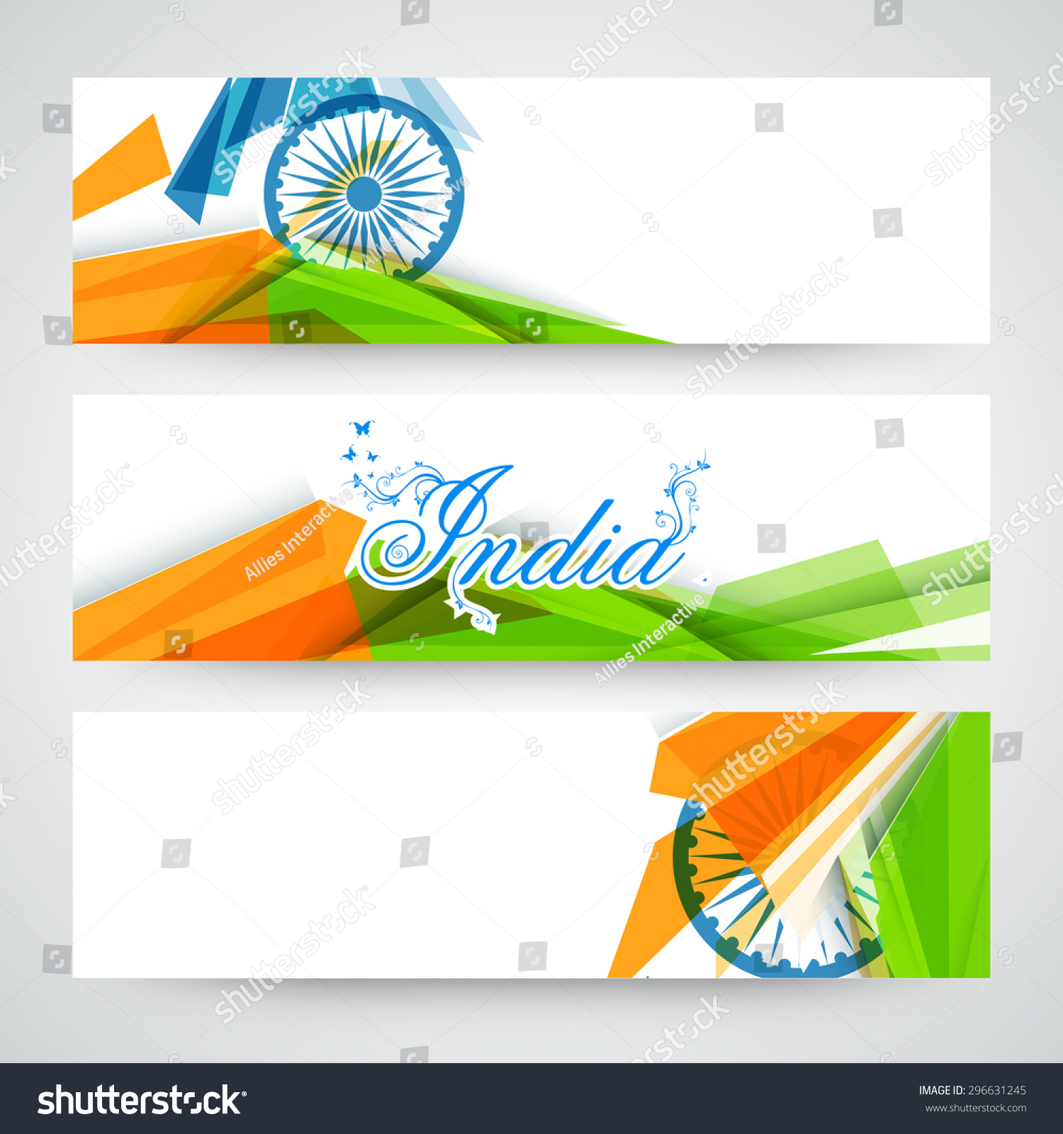 Colors website ashoka - Creative Website Header Or Banner Set Decorated With Ashoka Wheel And National Flag Color Abstract Design