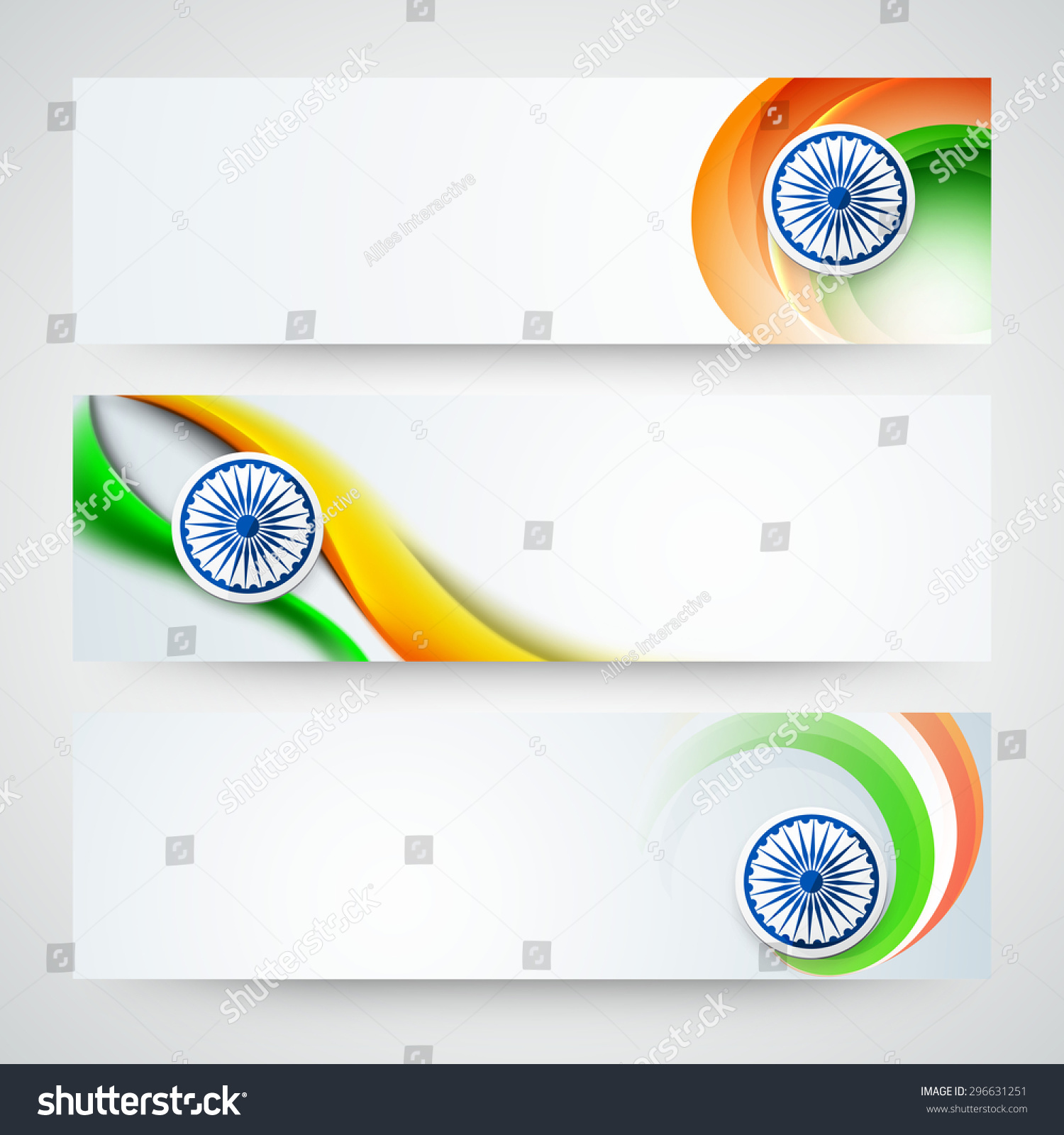 Colors website ashoka - Glossy Website Header Or Banner Set With Ashoka Wheel And National Flag Color Waves For Indian