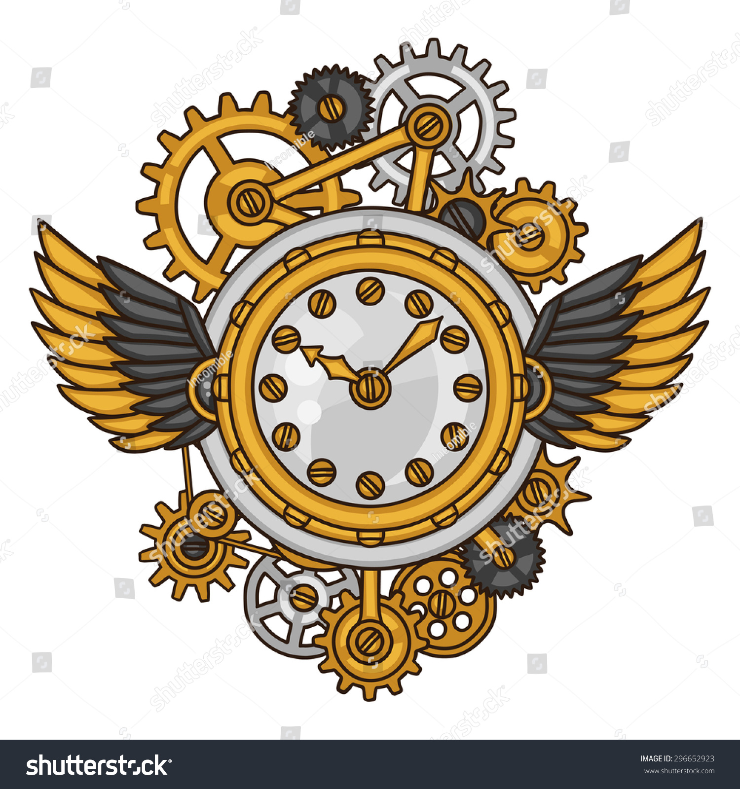 Steampunk clock collage of metal gears in doodle style.