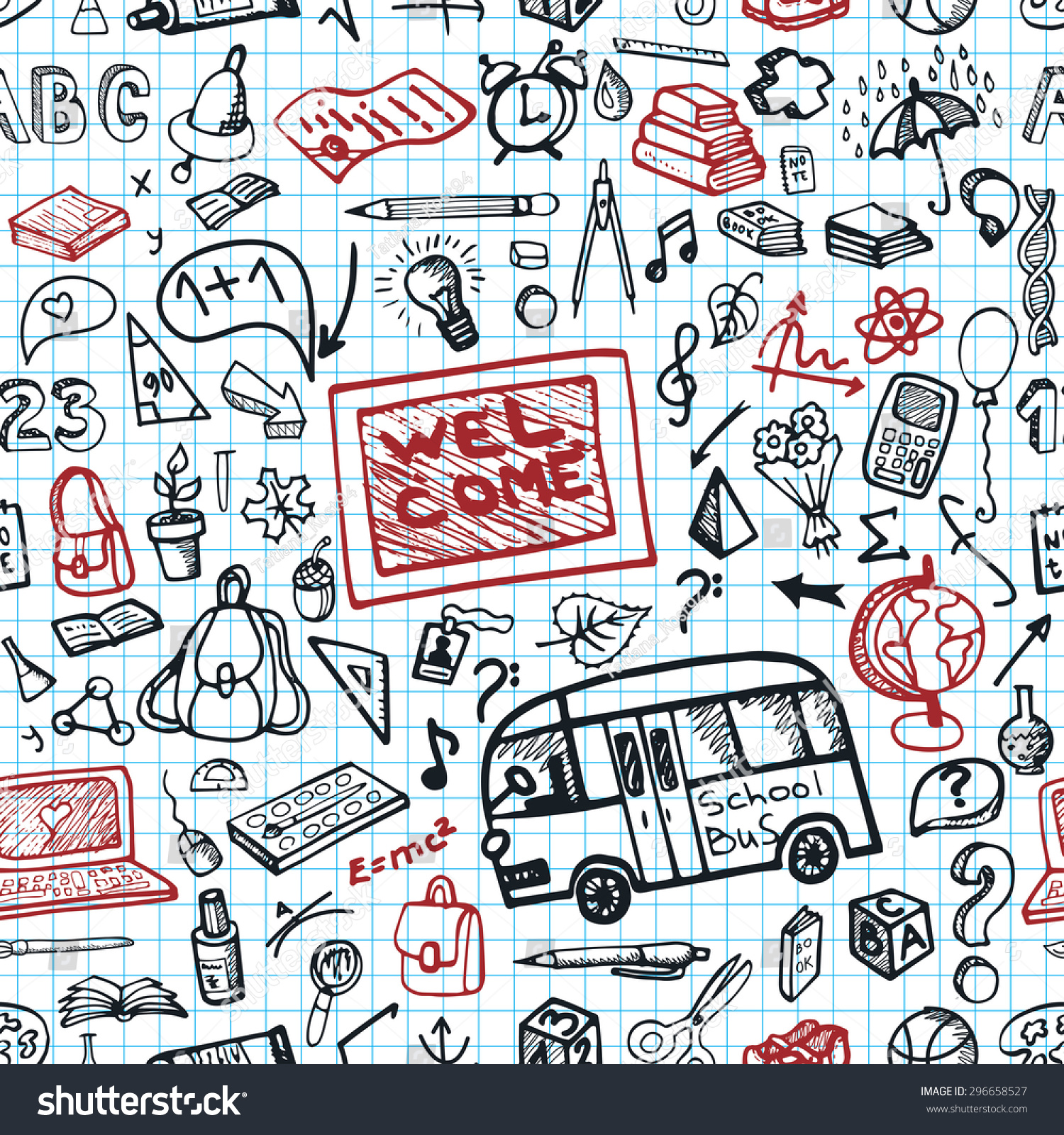 Back To School Doodles Supplies Seamless Pattern.Sketchy