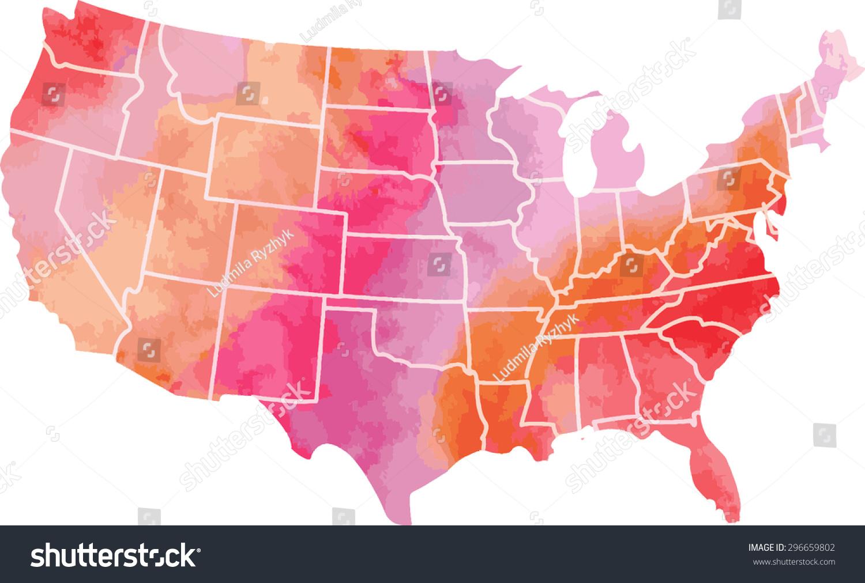 Usa Watercolor Vector Map Stock Vector  Shutterstock - Map usa vector