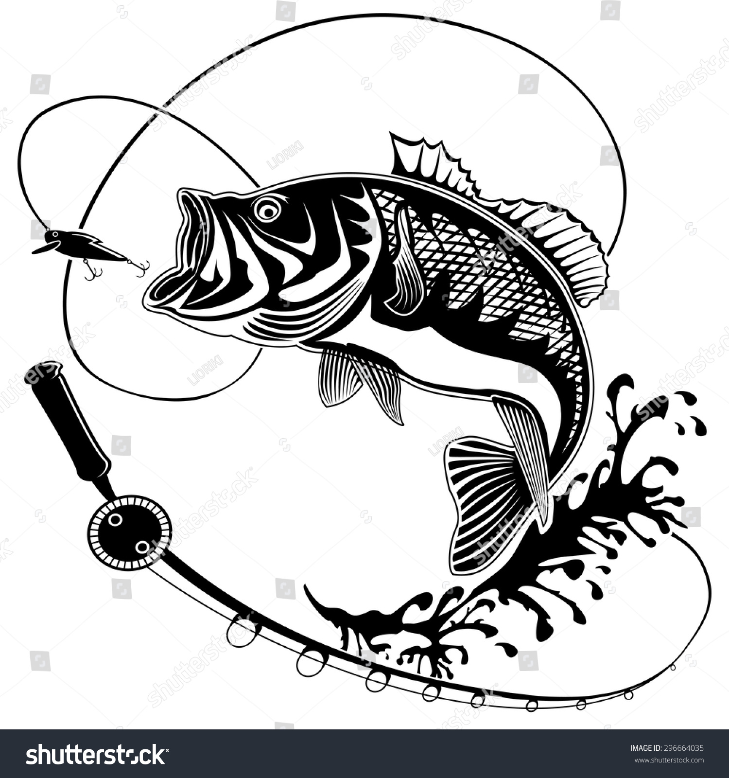 Isolated Illustration Big Peach Fish Waves Stock Vector 296664035 ...