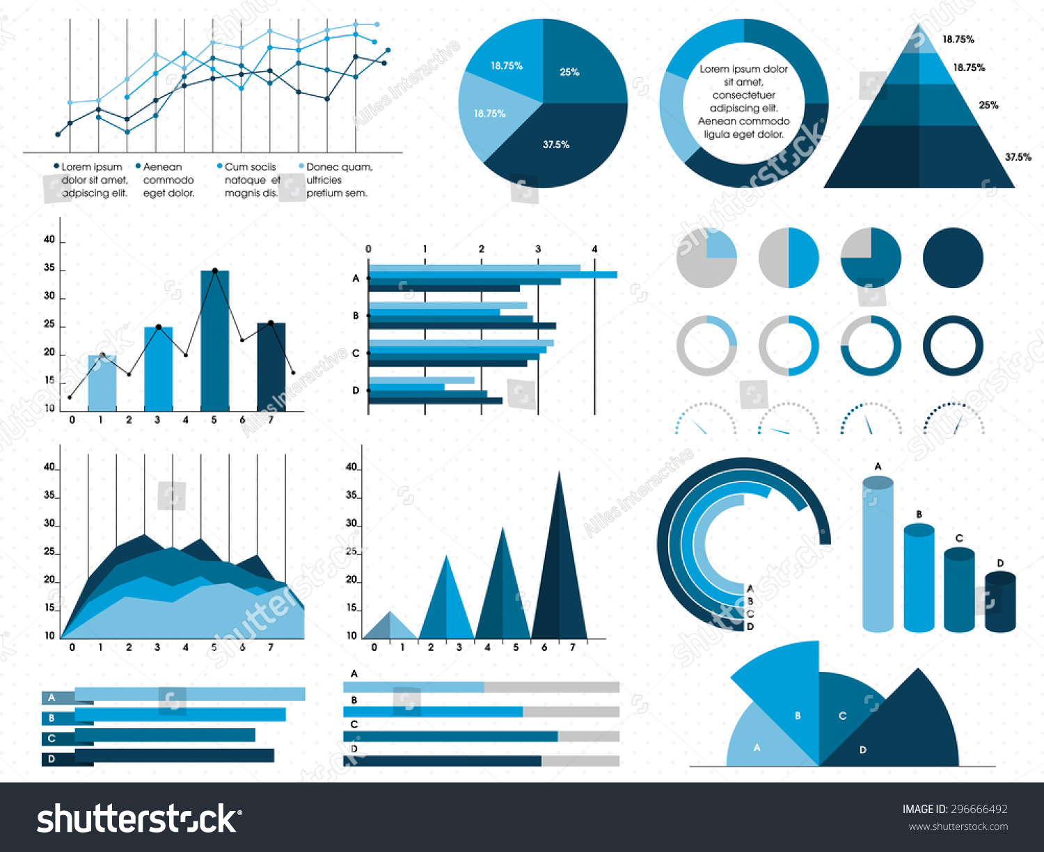 set creative statistical graphs charts business stock vector