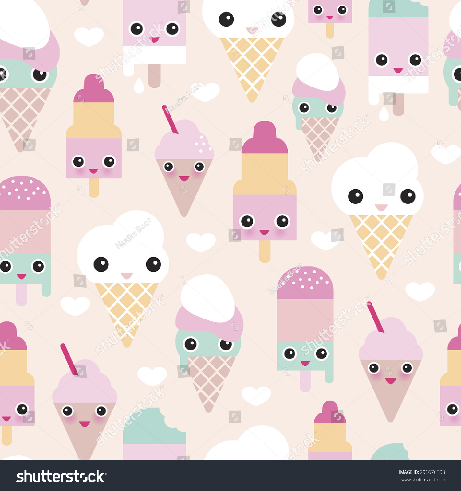 Cute Colorful Ice Cream Seamless Pattern Background: Seamless Colorful Pastel Popsicle Adorable Kawaii Summer