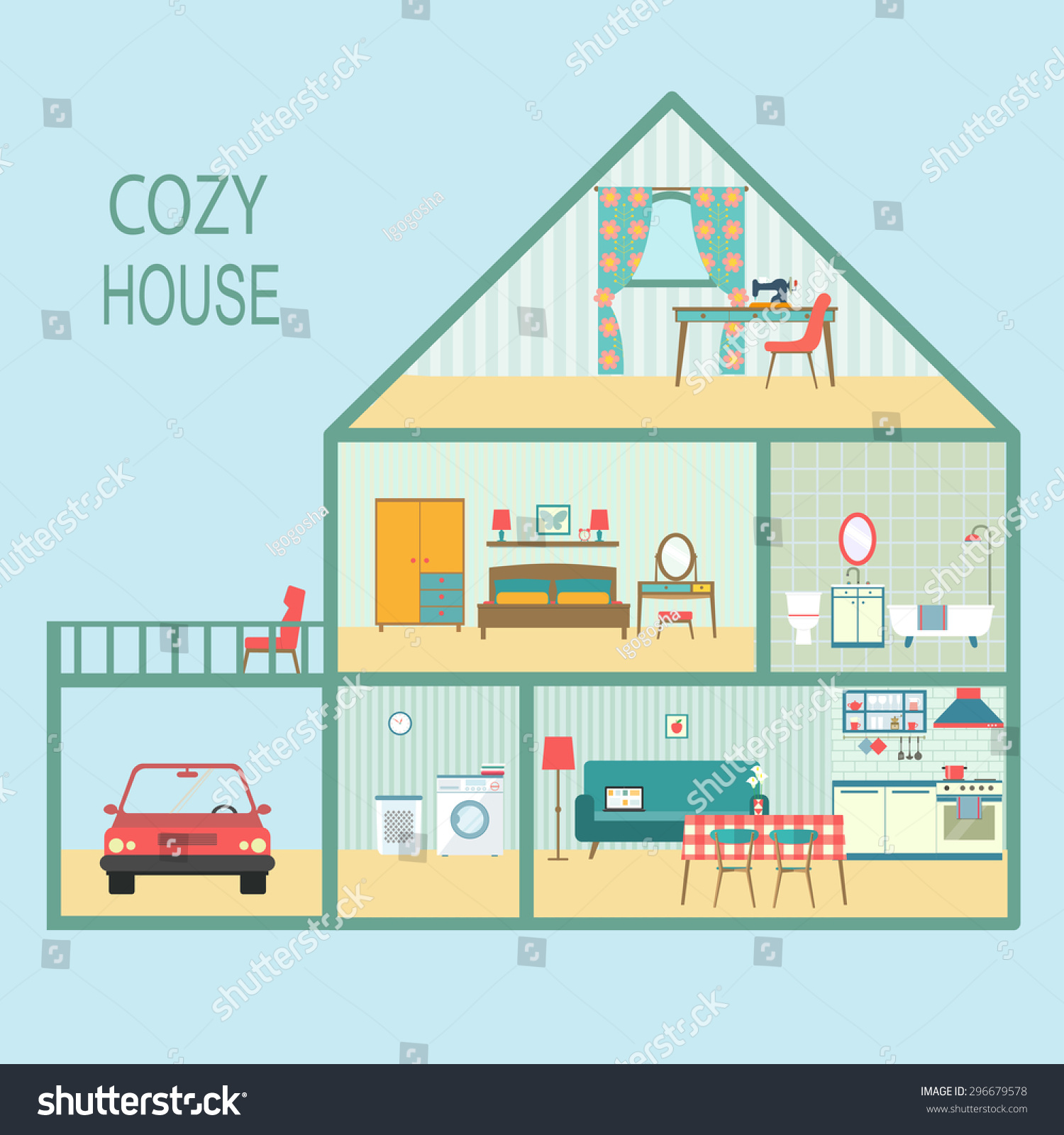 Cozy Living Room Vector Illustration: Flat Cozy House Section With Interior Living Room