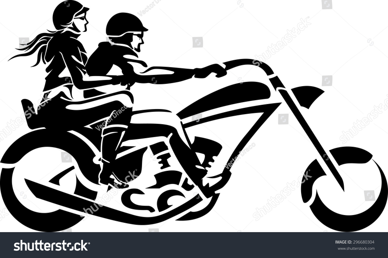 Motorcycle Chopper Couple Ride Stock Vector Illustration ...