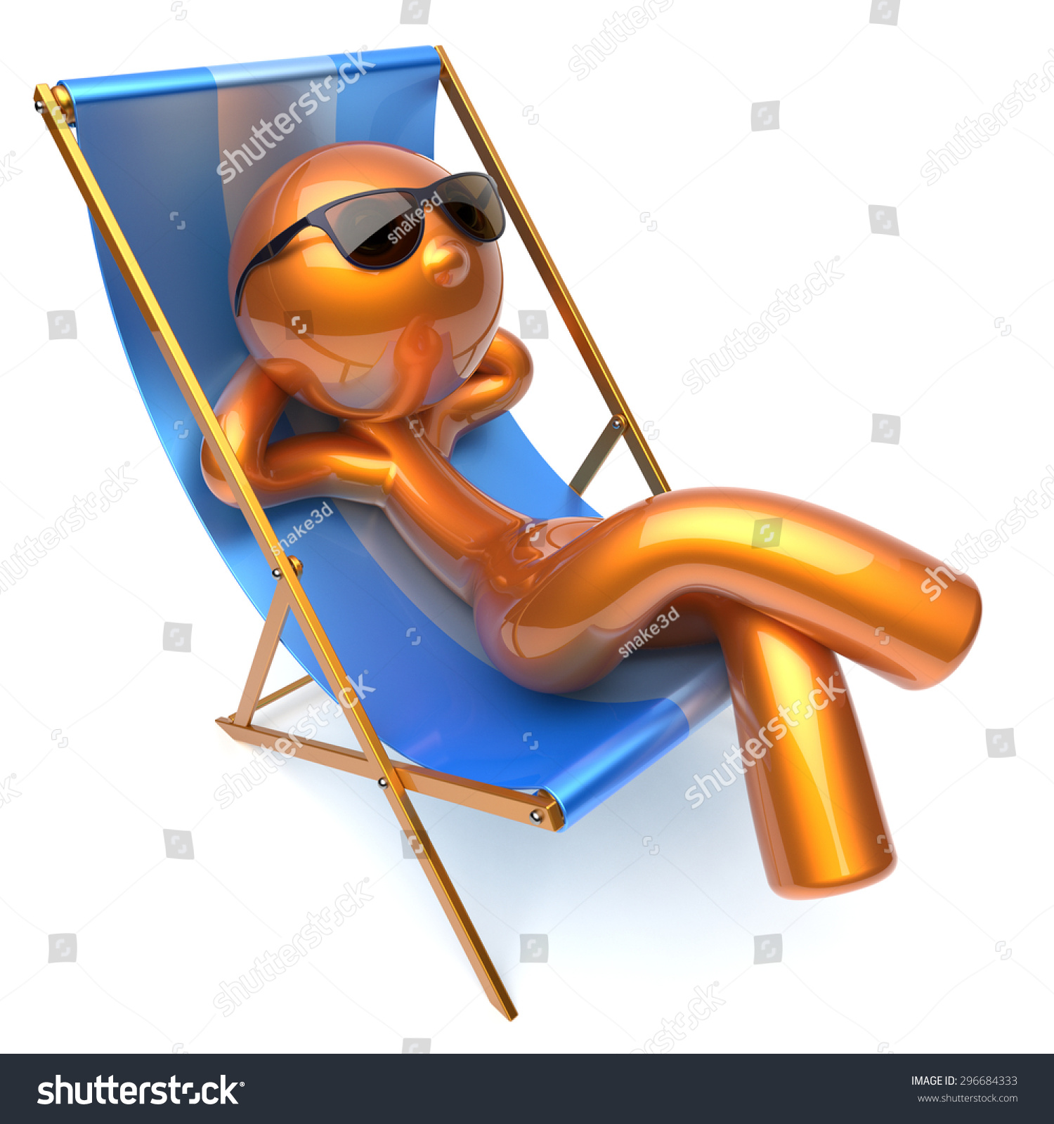 Man Relaxing Chilling Beach Deck Chair Stock Illustration