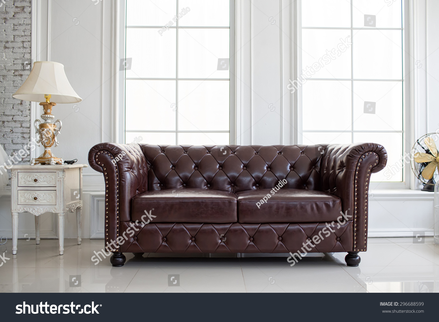 Vintage Style Interior Decoration Leather Sofa Stock Photo  ~ Leather Sofa Vintage Style