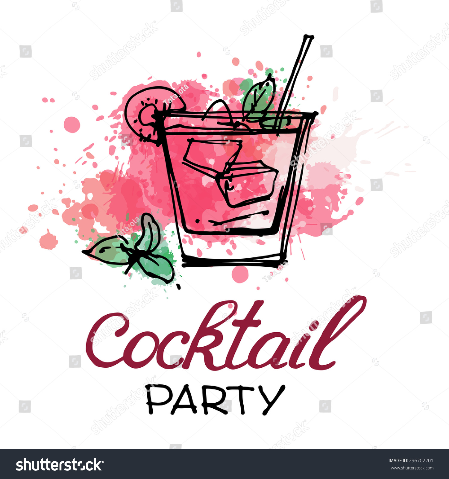 cocktail glass abstract splashes design cocktail stock vector