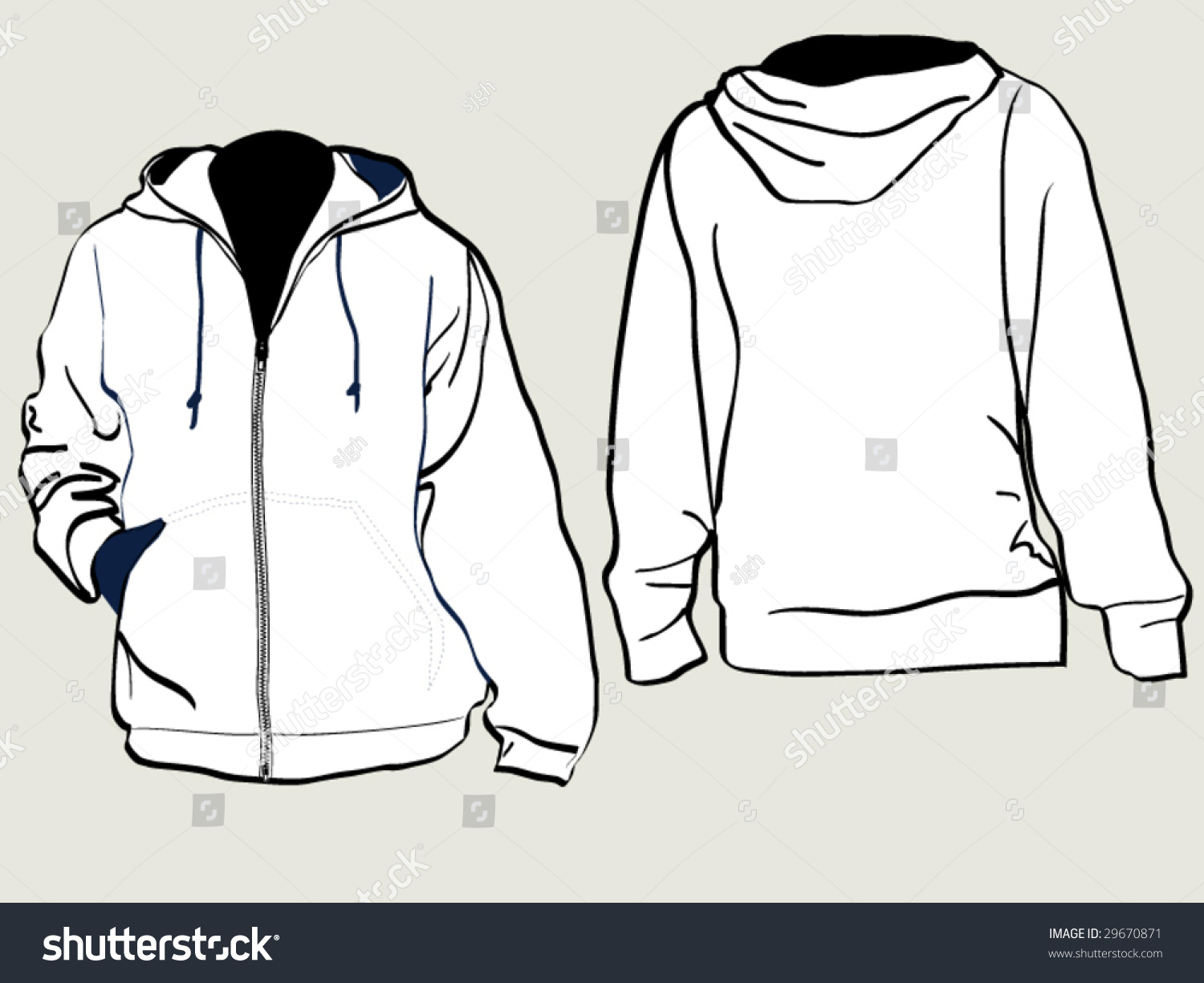 zipper jacket hood template back front stock vector