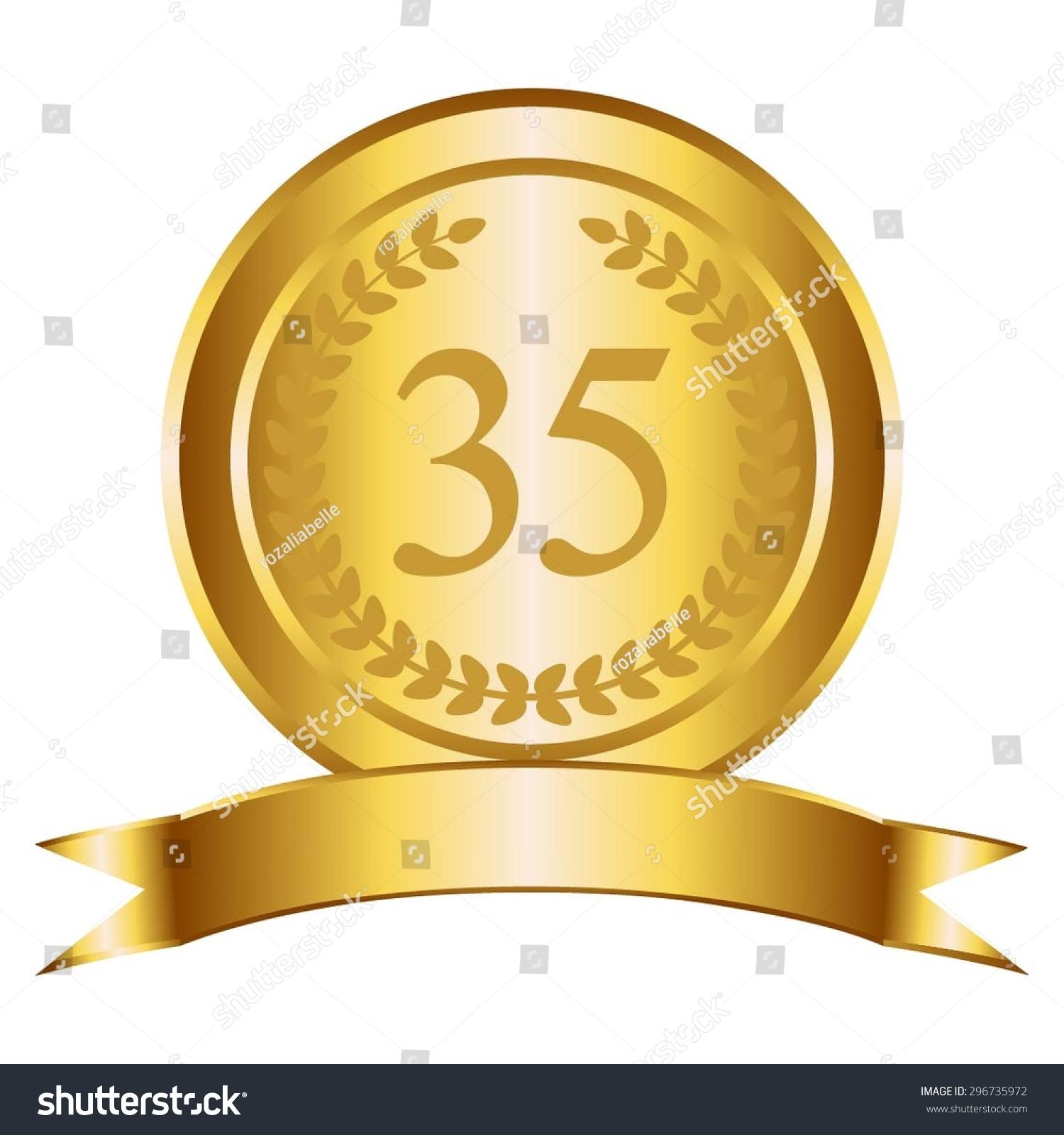 vector illustration 35 anniversary gold award stock vector royalty