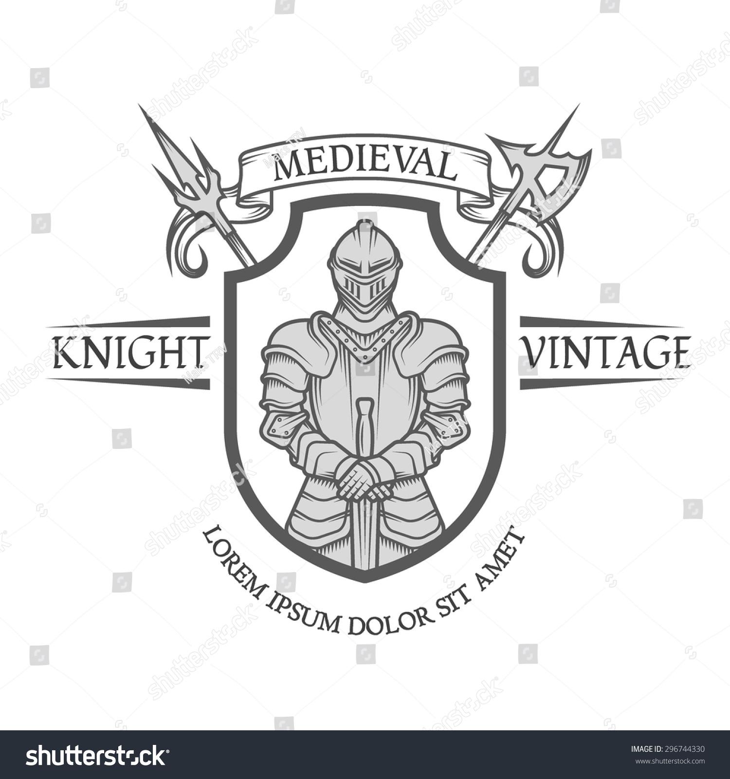Knight warrior armor sword heraldic emblem stock vector 296744330 knight warrior in armor with a sword heraldic emblem in the medieval style biocorpaavc Gallery