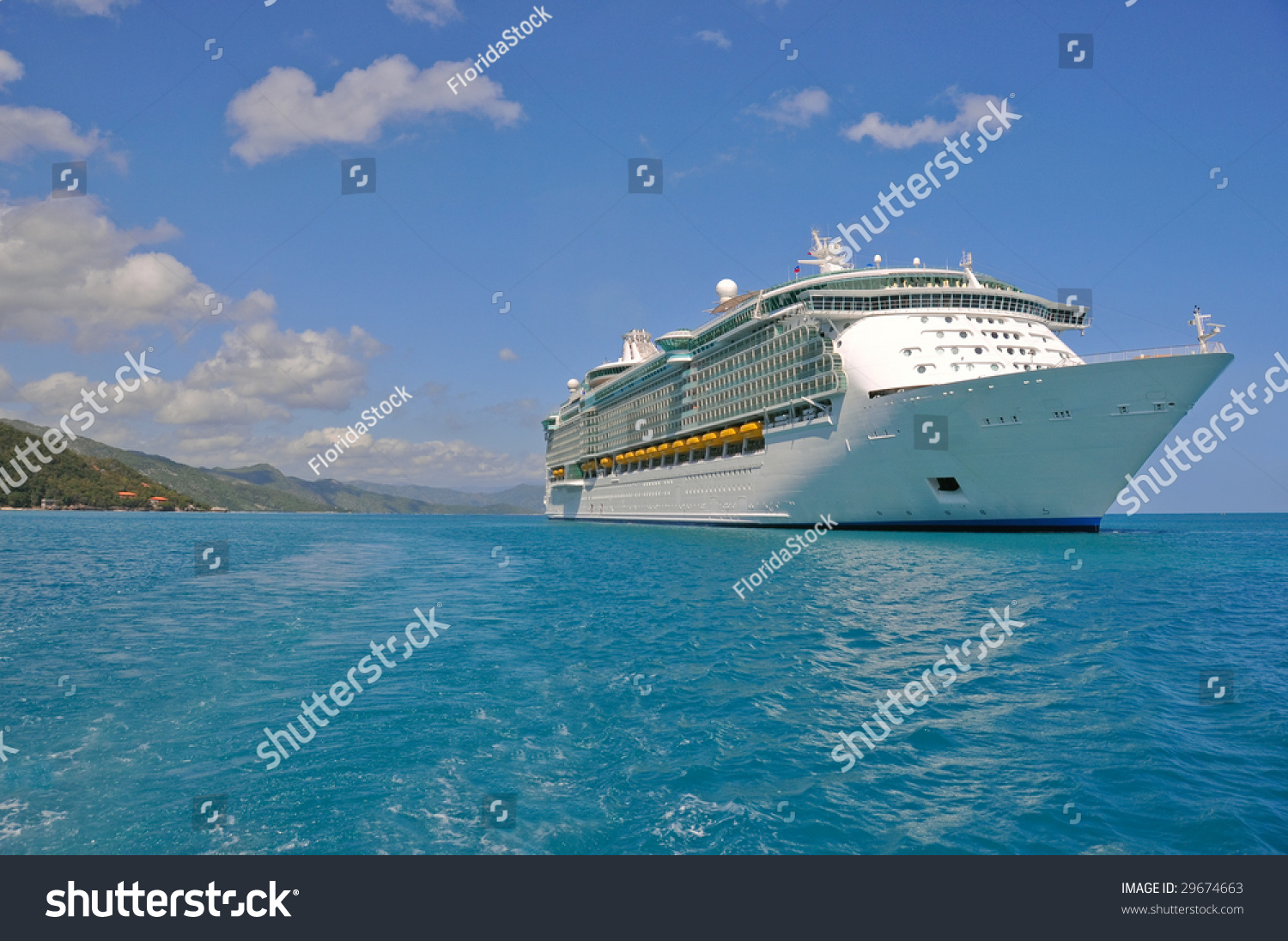 Huge Cruise Ship Caribbean Port Stock Photo Shutterstock - Huge cruise ship