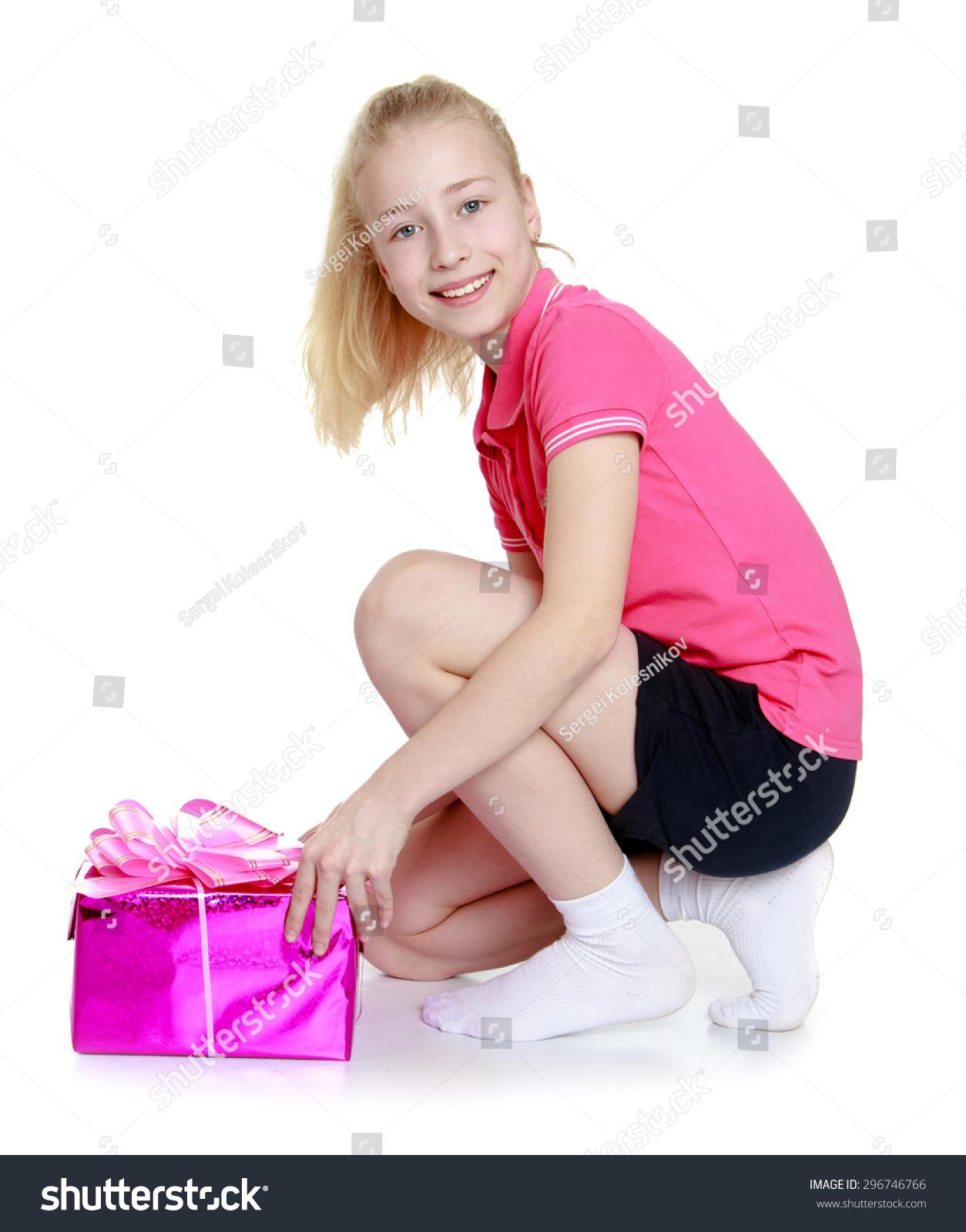 Charming Blonde Girl Long Tail Pink Stock Photo 296746766 Shutterstock