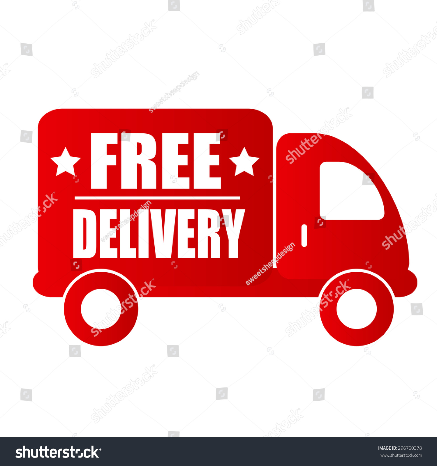 Free Delivery Text Red Car Stock Vector Royalty Free 296750378