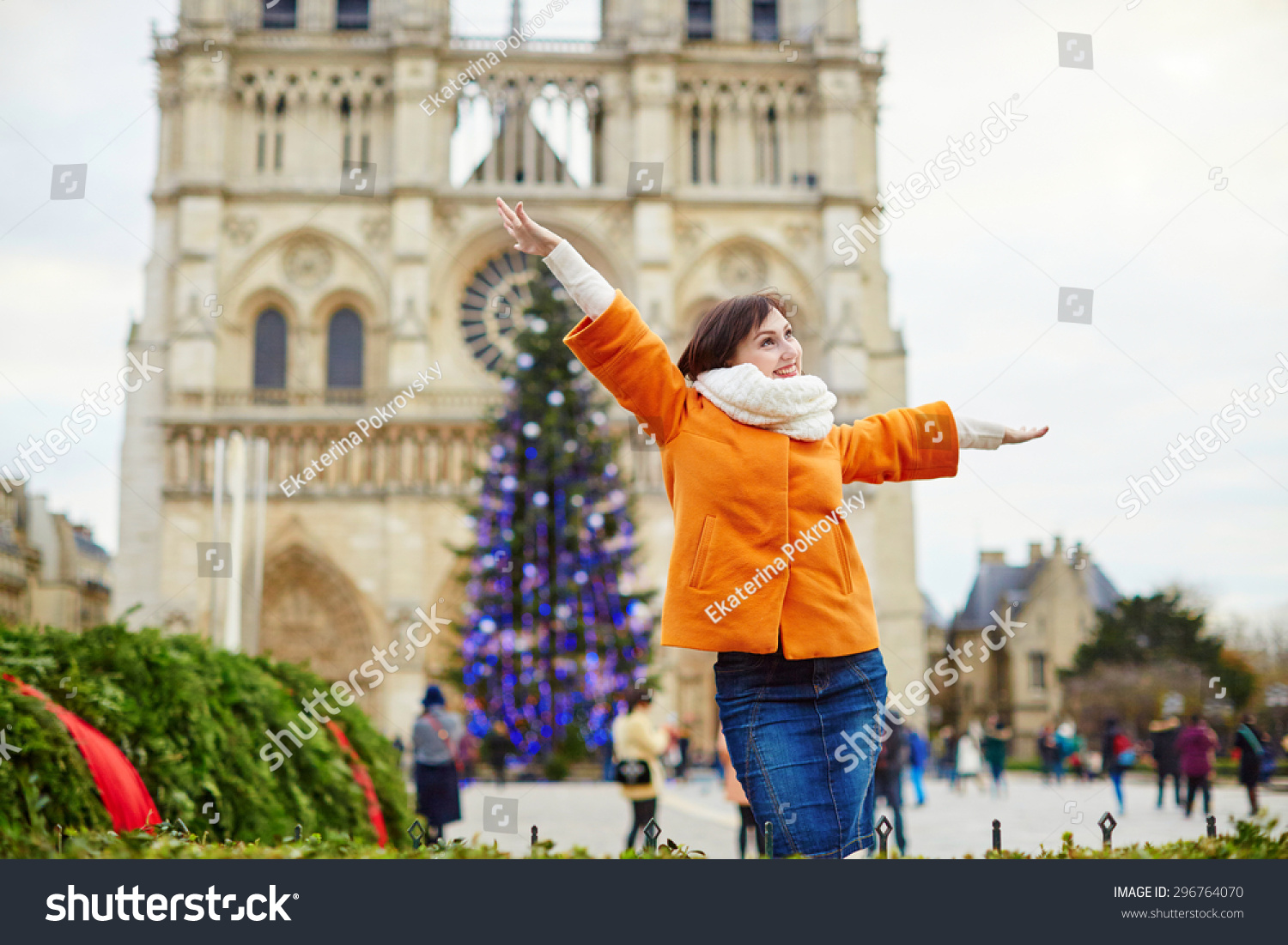 Happy Young Tourist Paris On Winter Stock Photo 296764070 ...