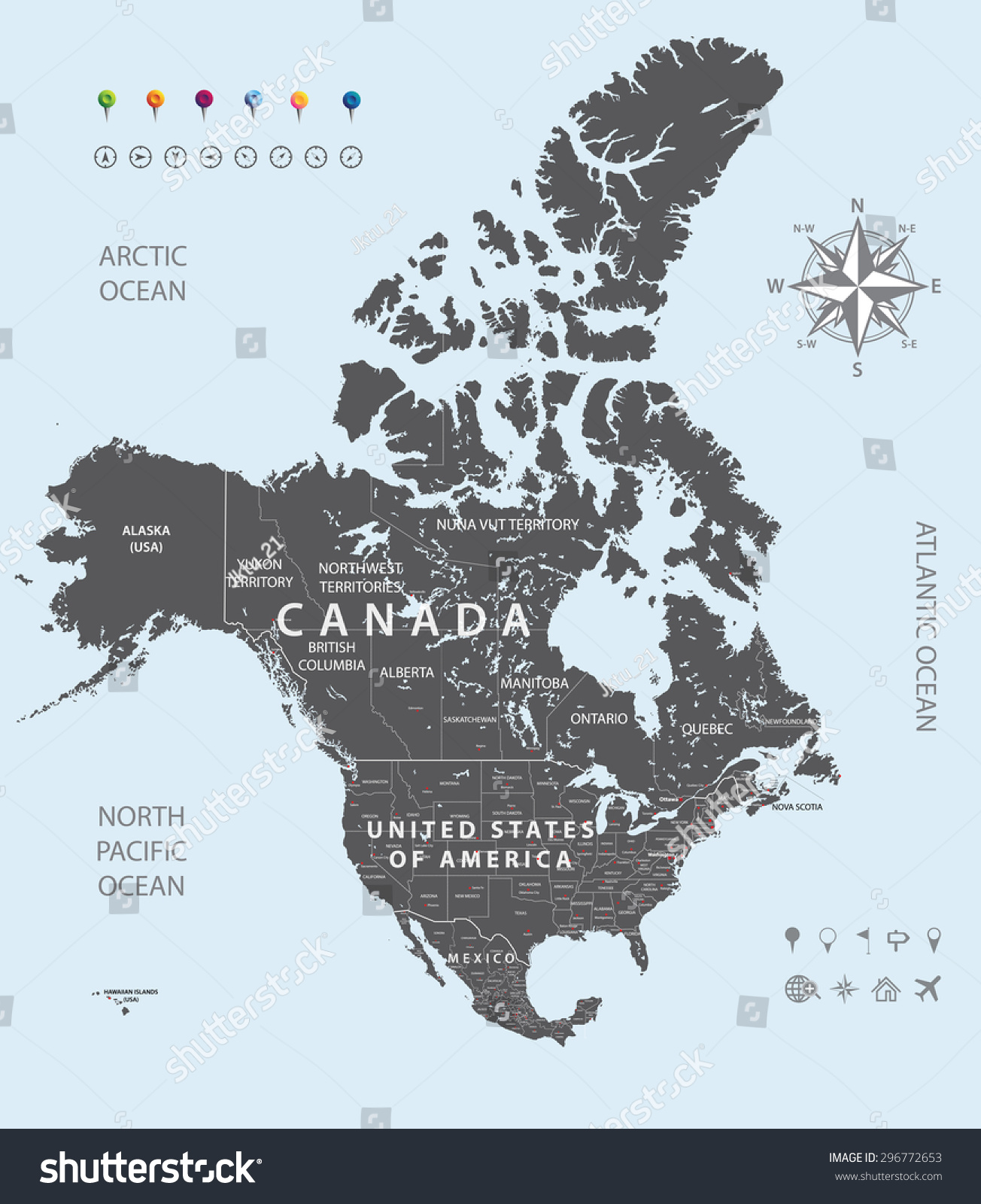 Map Canada Usa Mexico States Borders Stock Vector - Map of canada and usa