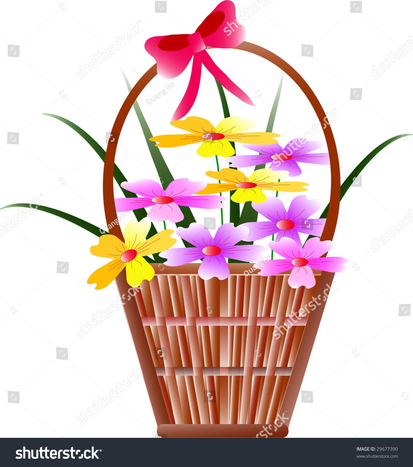 Flower Baskets Vector : A holiday flower basket stock vector illustration