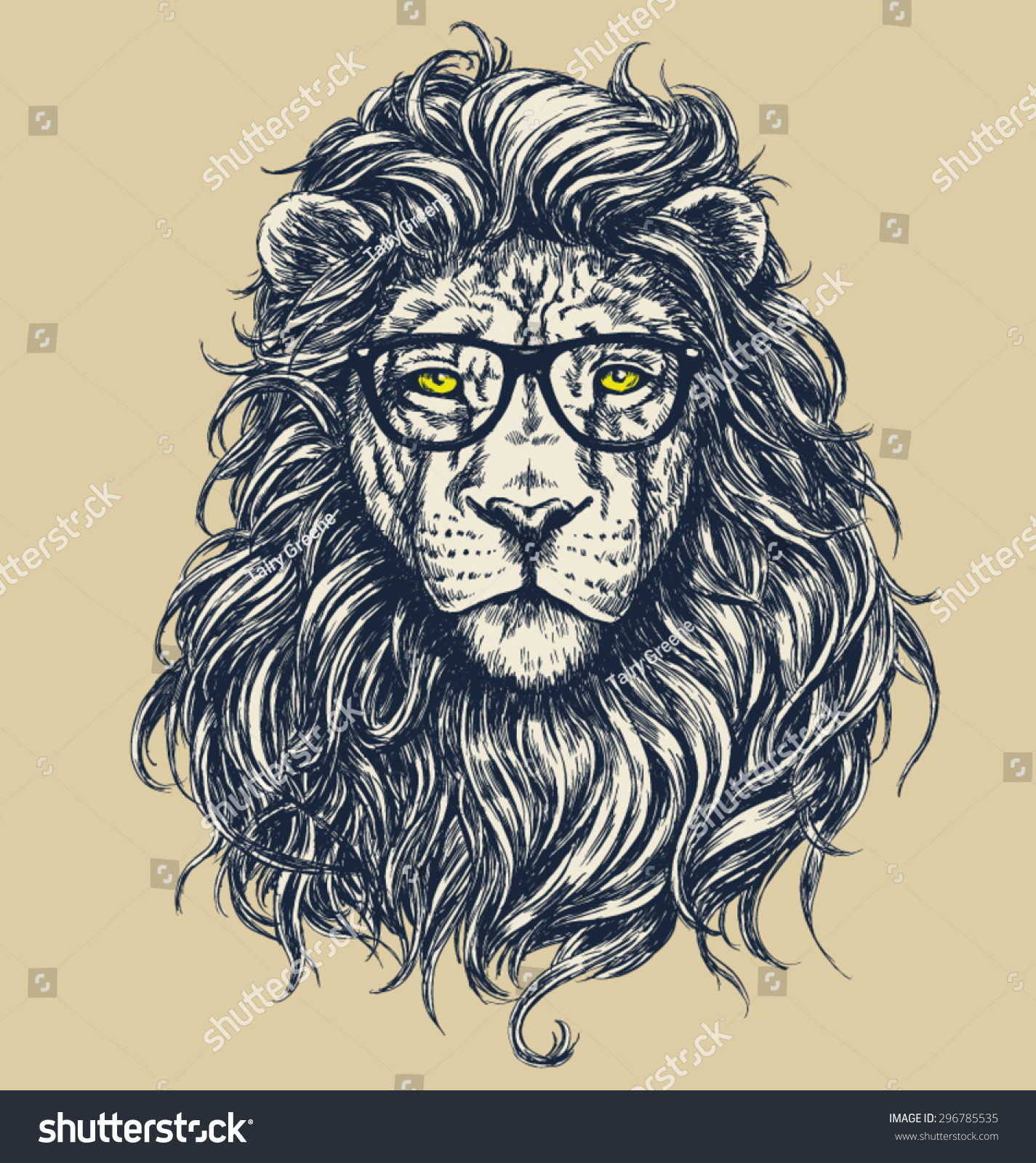 Hipster lion drawing - photo#5