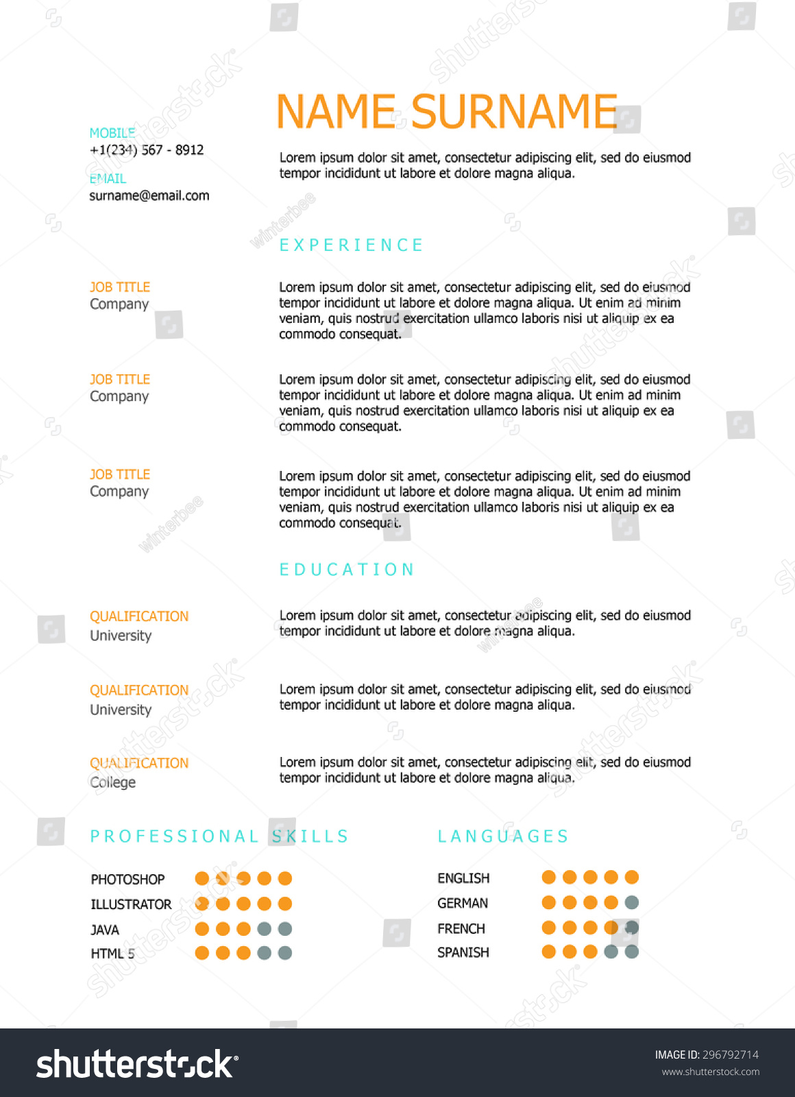professional minimal resume template design orange stock vector