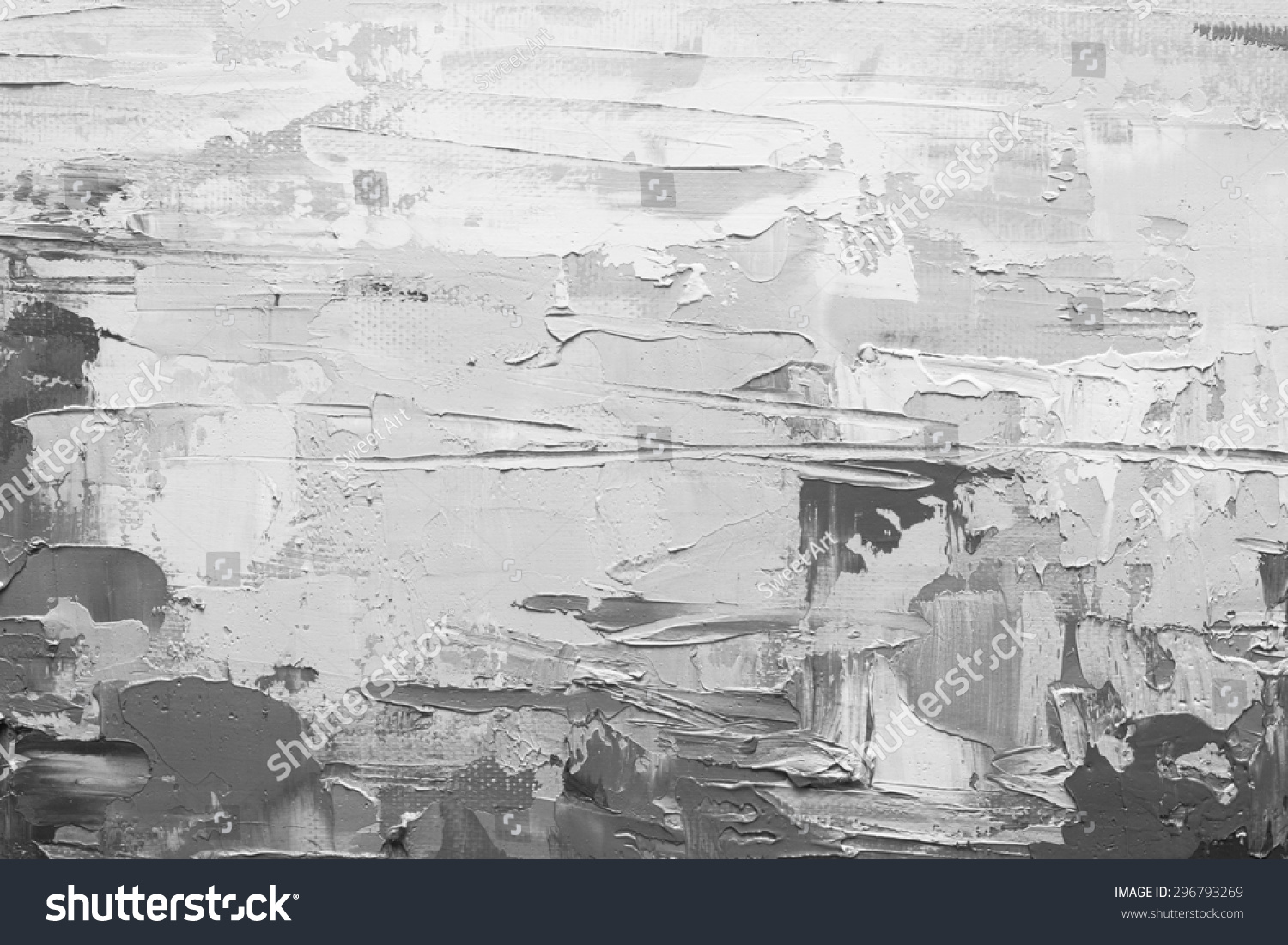 Abstract art grunge background oil painting on canvas black and white texture