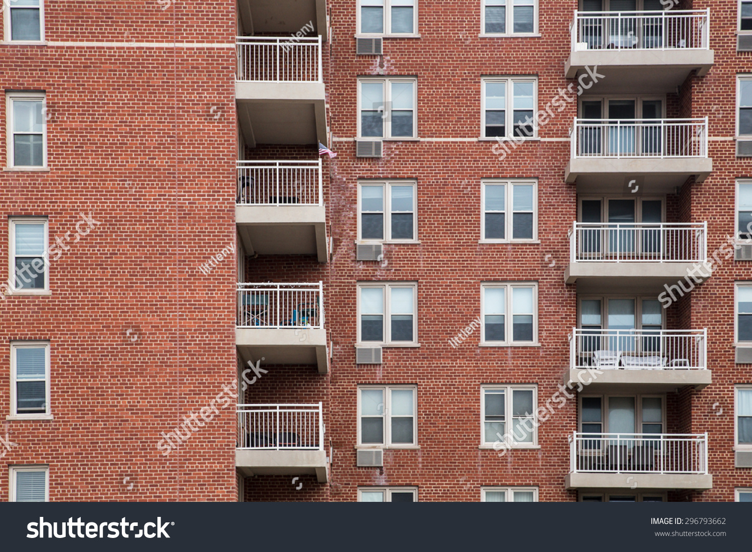 Typical apartment building exterior brick windows stock for New residential windows