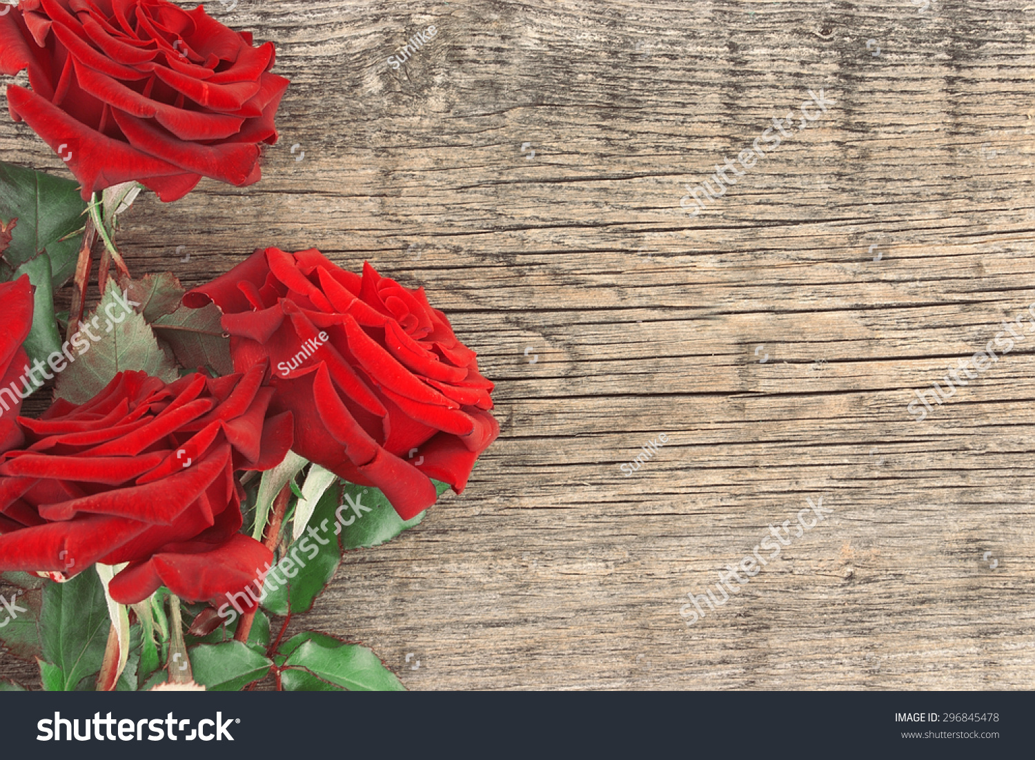 Bouquet Red Roses On Rustic Wooden Stock Photo 296845478 Shutterstock
