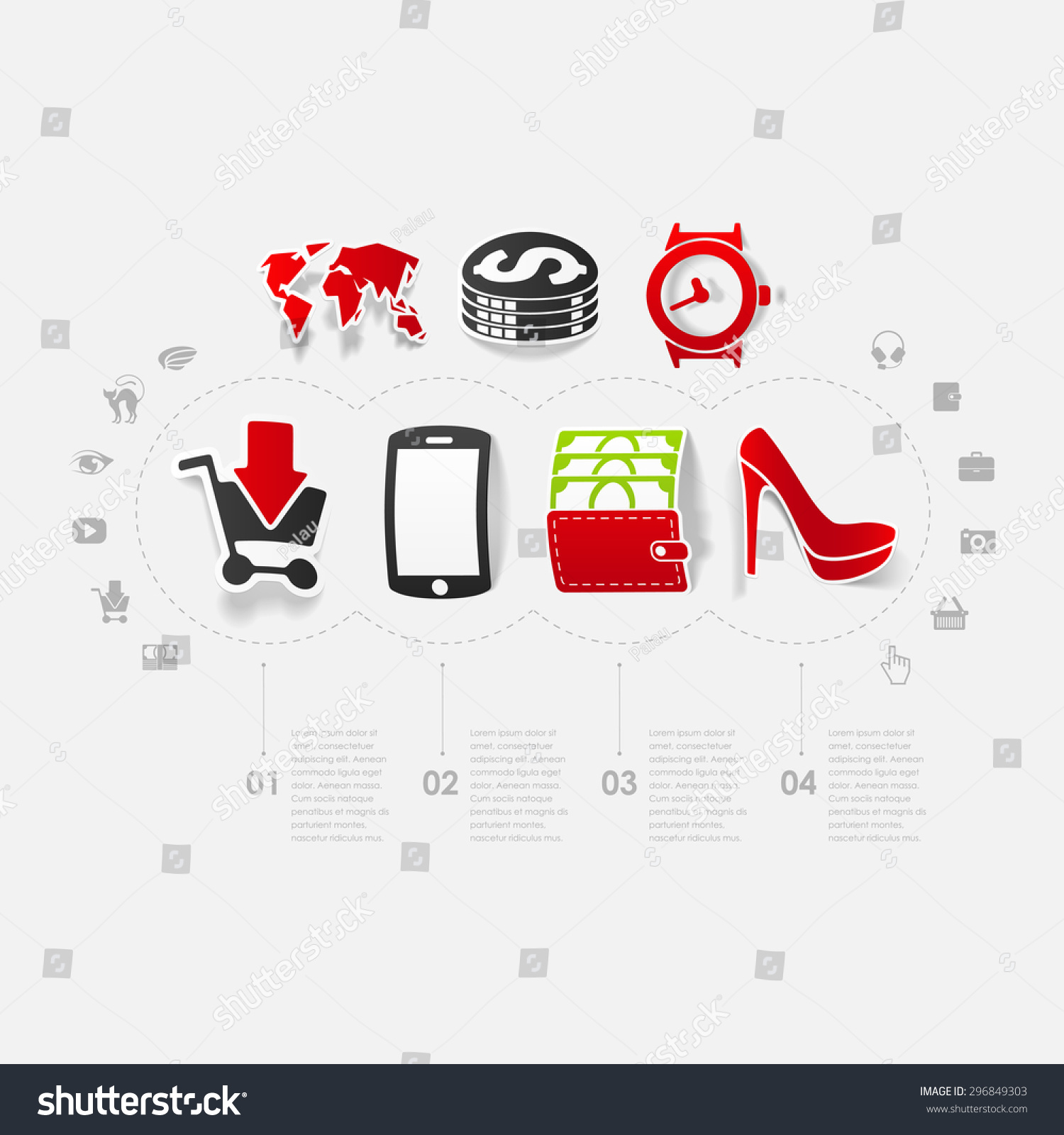 Set of sticker design online shopping concept