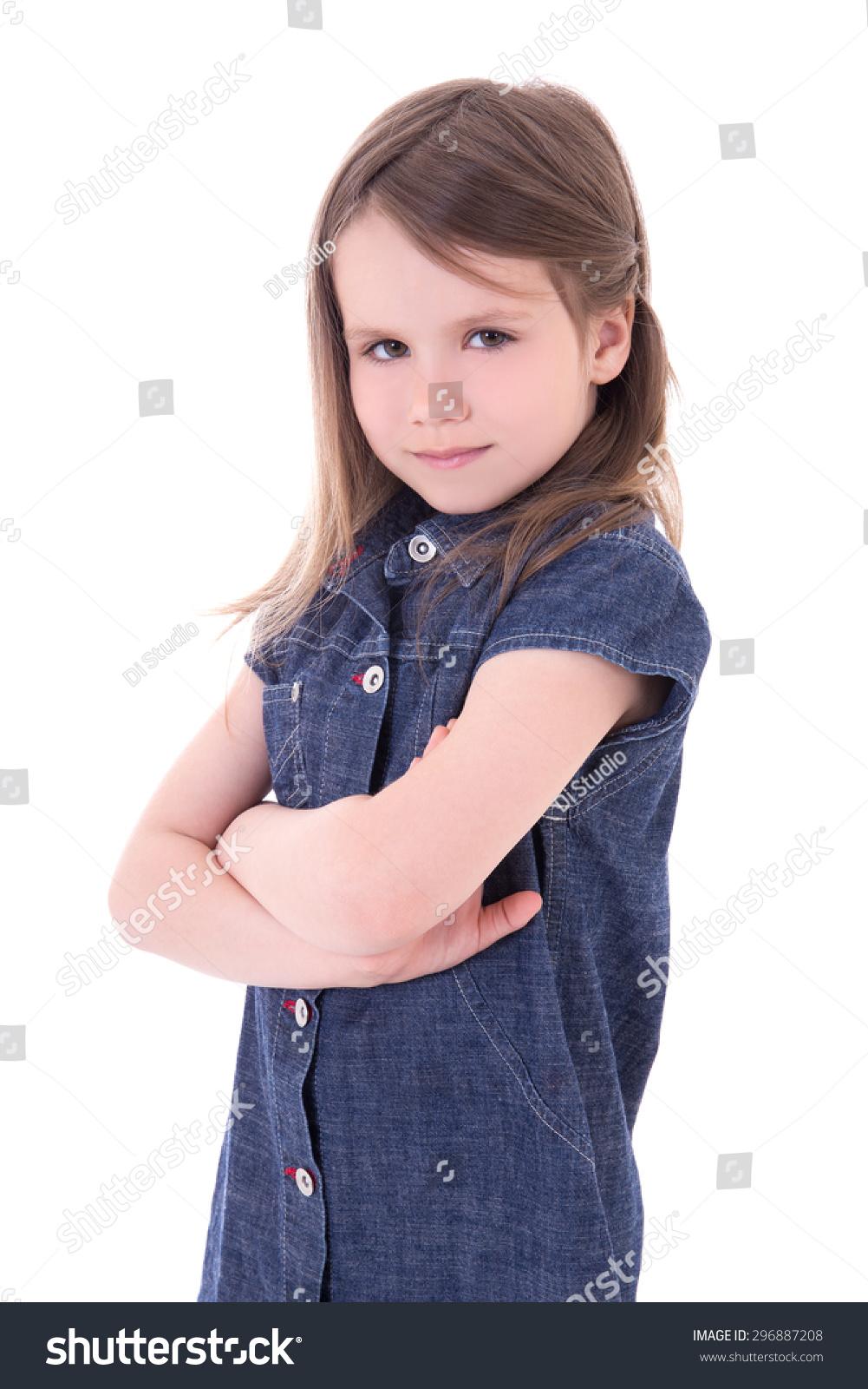 8894fec0416 portrait of funny cute little girl in denim dress isolated on white  background