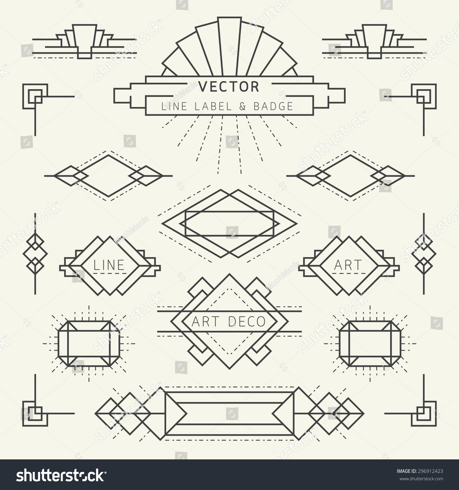 Art Deco Style Line And Geometric Labels And Badges Monochrome Linear
